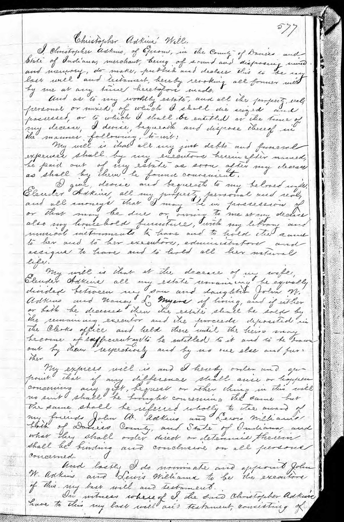 Last Will and Testament of Christopher Adkins (1825-1887) - page 1