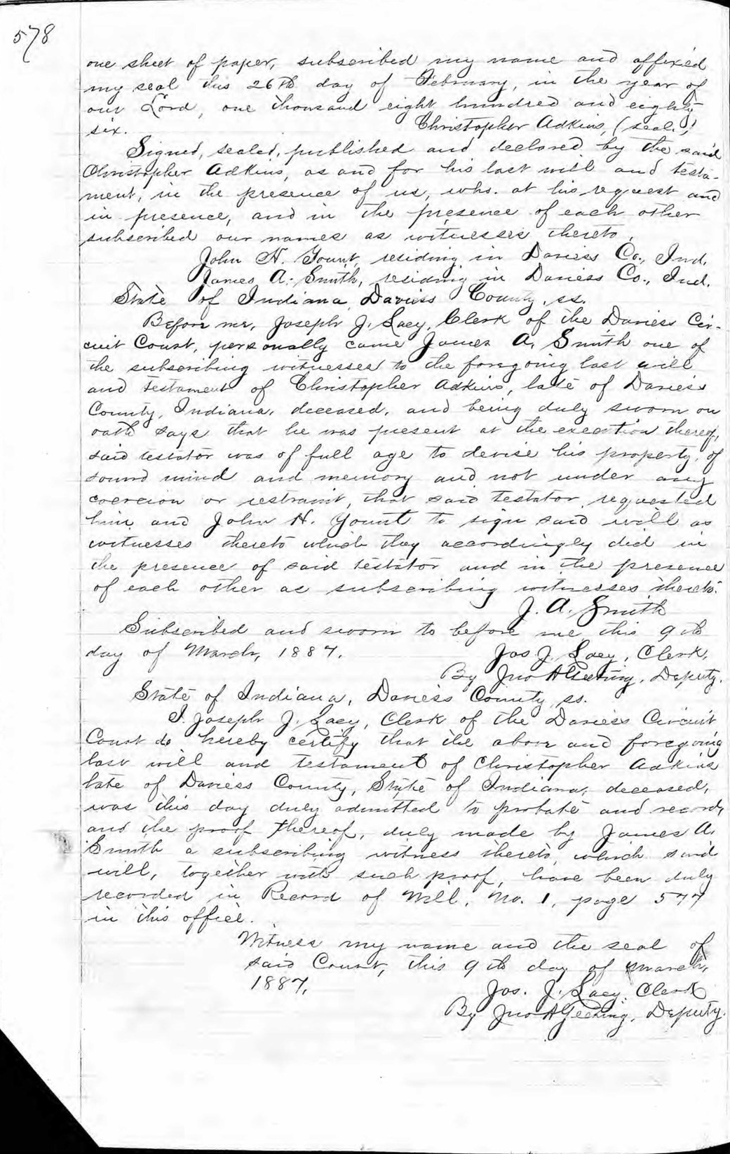Last Will and Testament of Christopher Adkins (1825-1887) - page 2