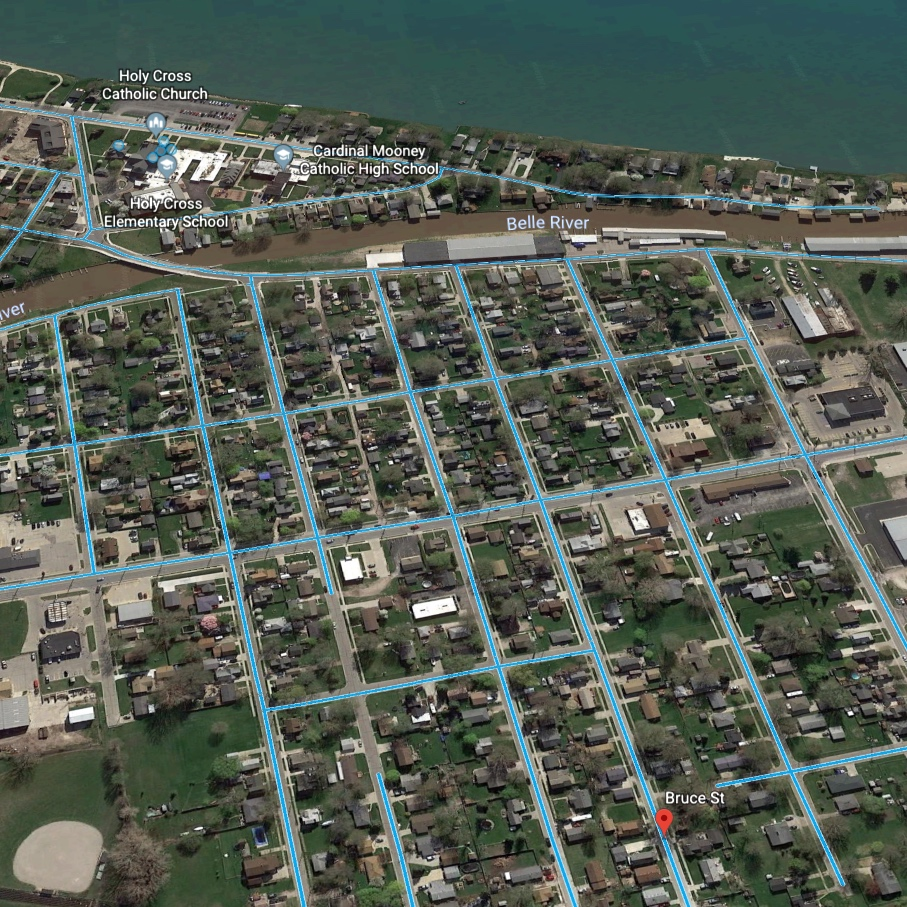 Aerial view of Bruce St. in Marine City, MI.