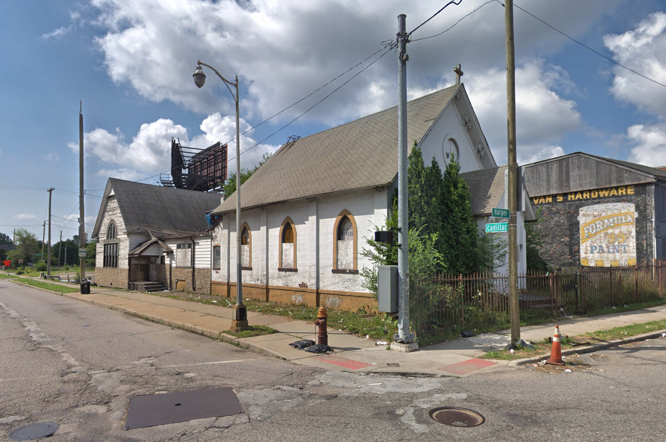 Corner of Cadillac and Harper on Detroit's East Side, site of the former Church of Our Savior Episcopal Church where Thelma and Charles married in 1923 .