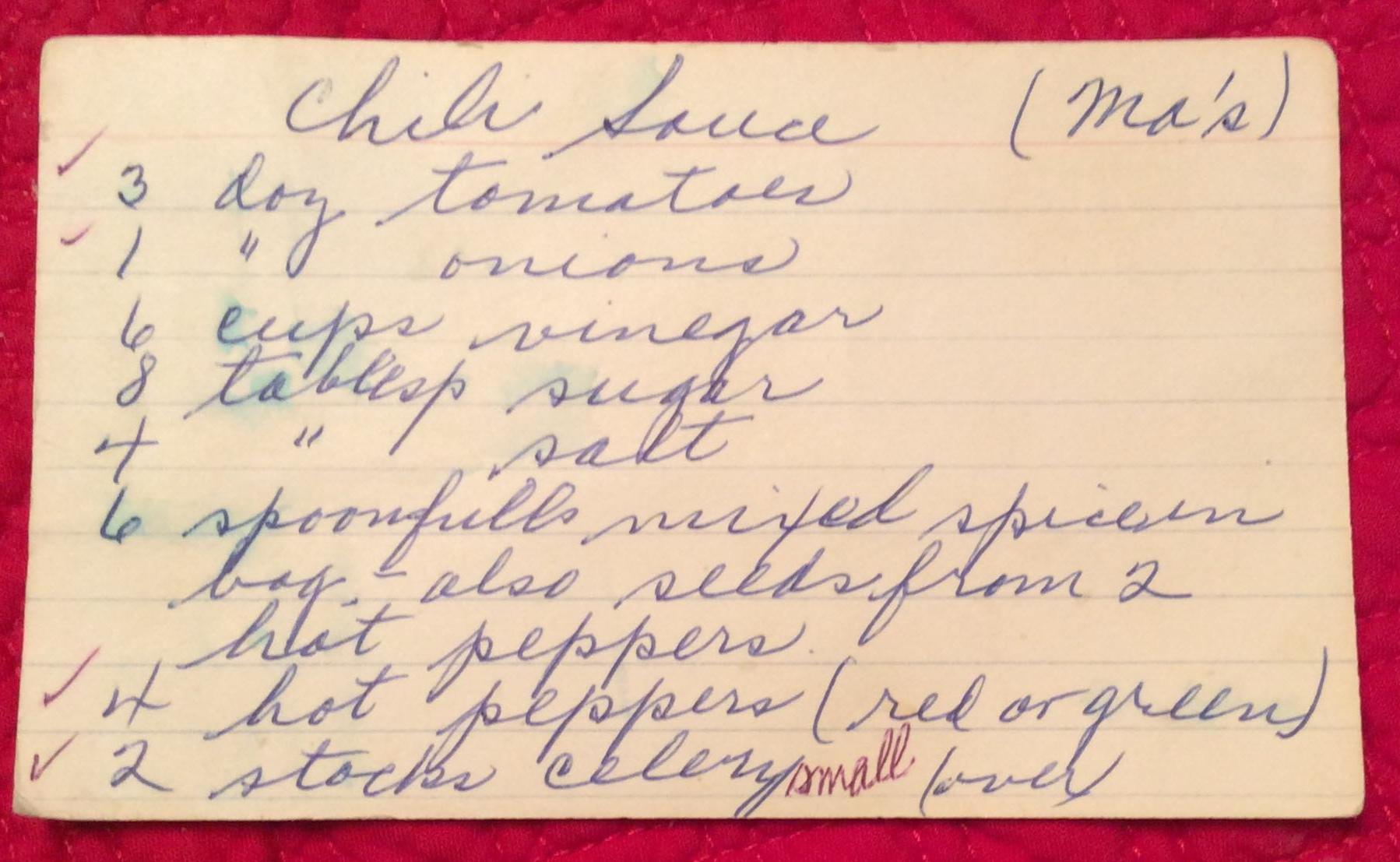 Written in her own hand, Thelma's Chili Sauce recipe