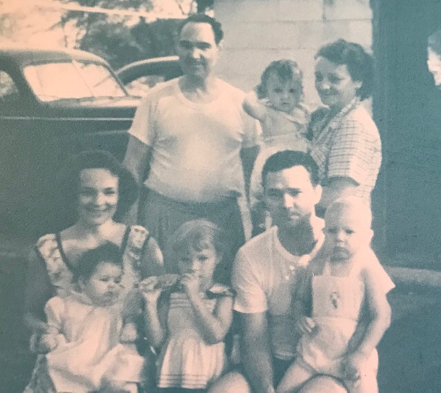 Thelma, right, with kids and grandkids