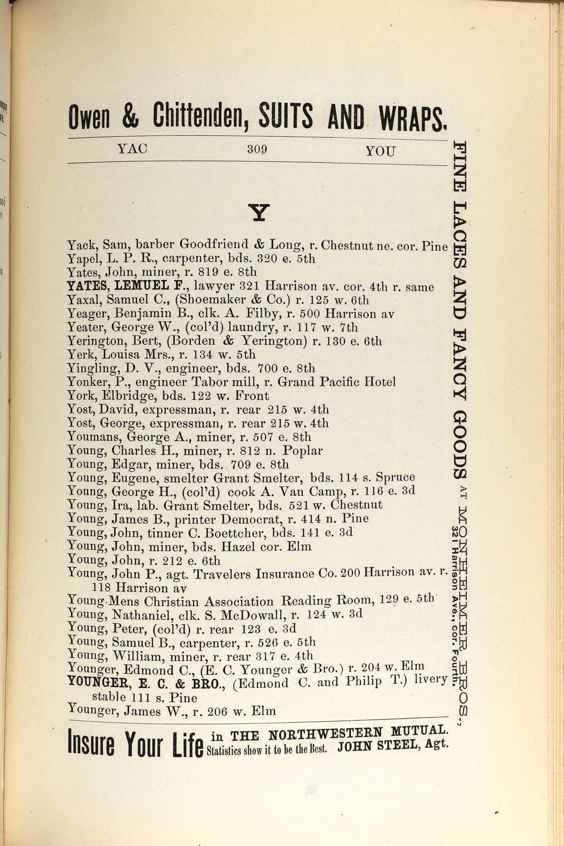 Leadville, CO City Directory - 1881