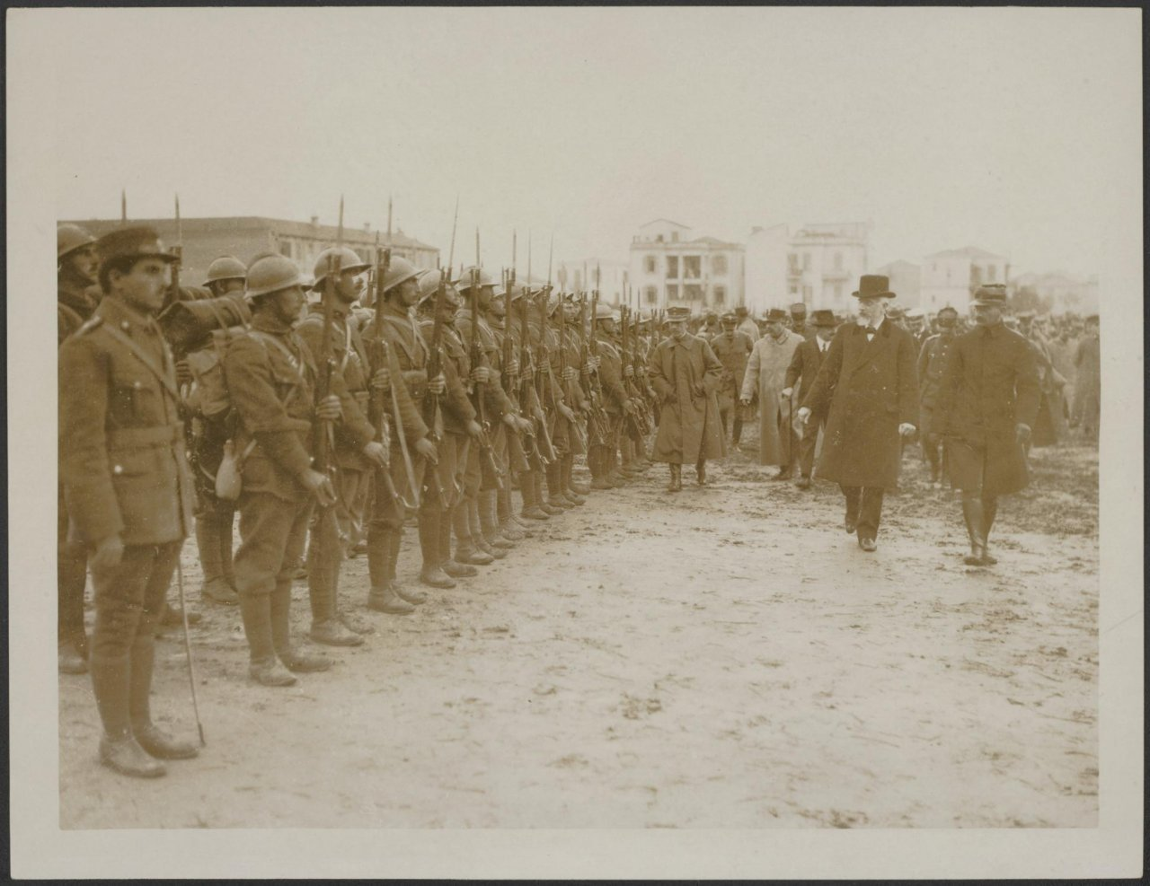 """Venizelos reviewing a Greek regiment before it marches out of Salonica to meet the Bulgars"""