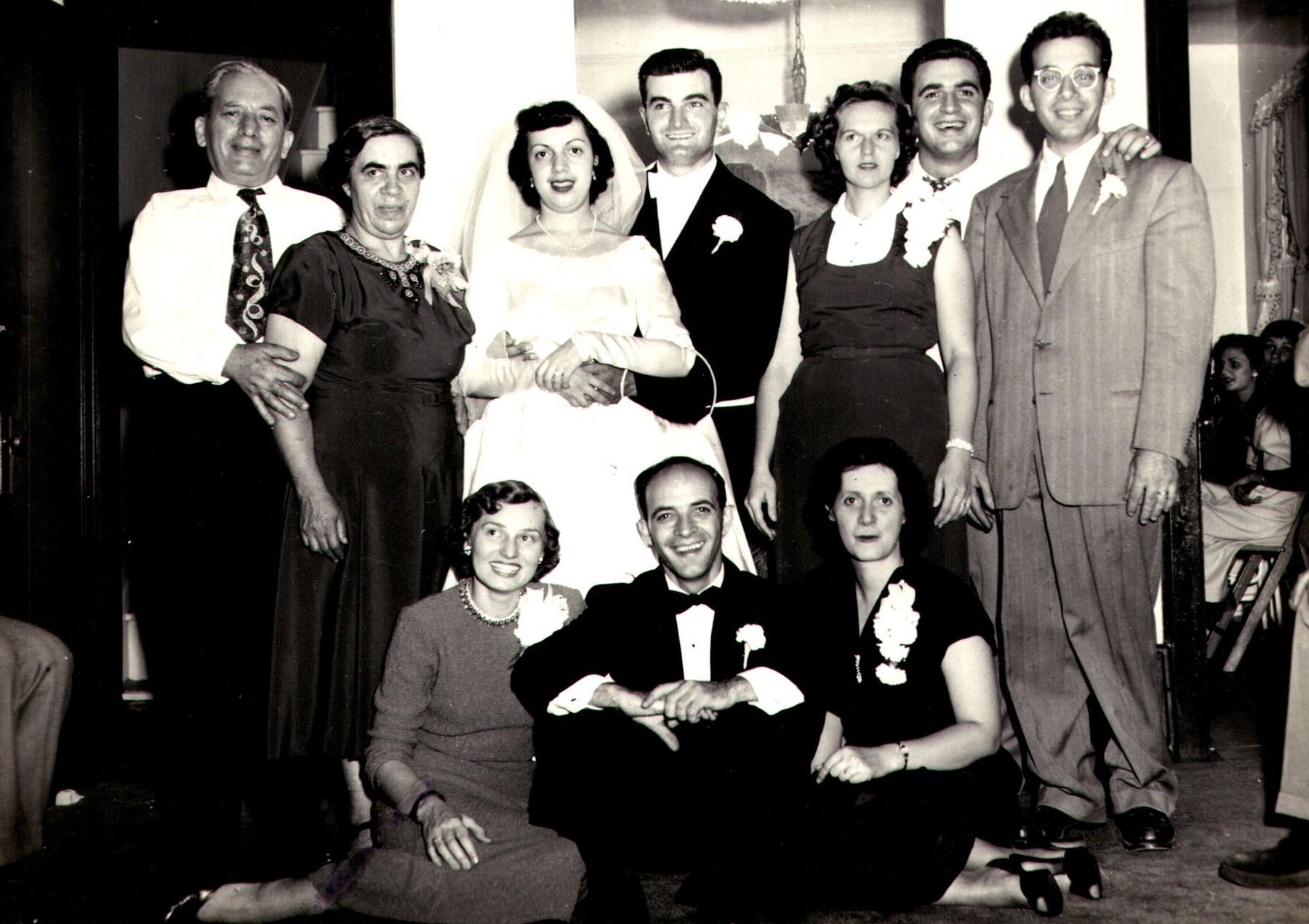 """Top Row L-R: William Karr, Angeline (Chardoulias) Karr, Ann (Karr) Cardy, Frank Cardy, Alice (Johnston) Karr, Anthony """"Tony"""" Karr, James """"Jimmy"""" Karr    Seated L-R: Betty Karr, Stephen Karr, Clara (Miller) Karr. Alice was married to Tony Karr, Betty to Stephen, and Clara to Jimmy Karr."""