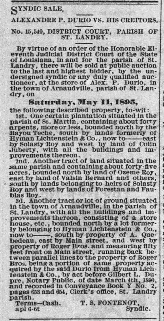 St. Landry Clarion, Opelousas, LA - April 13 1895