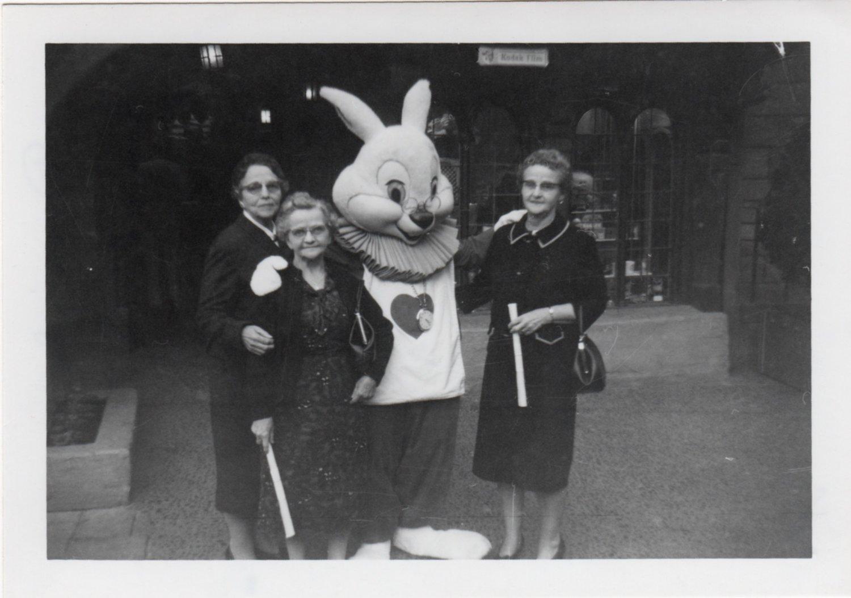 Left to right: Amanda Rhoads Campbell, Mary Rhoads, The White Rabbit, Ida Rhoads Sears. 1965