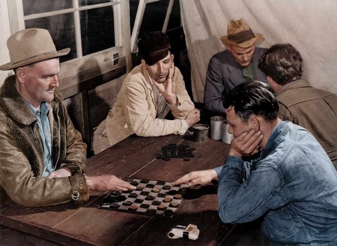 Men in recreation hall (1940)