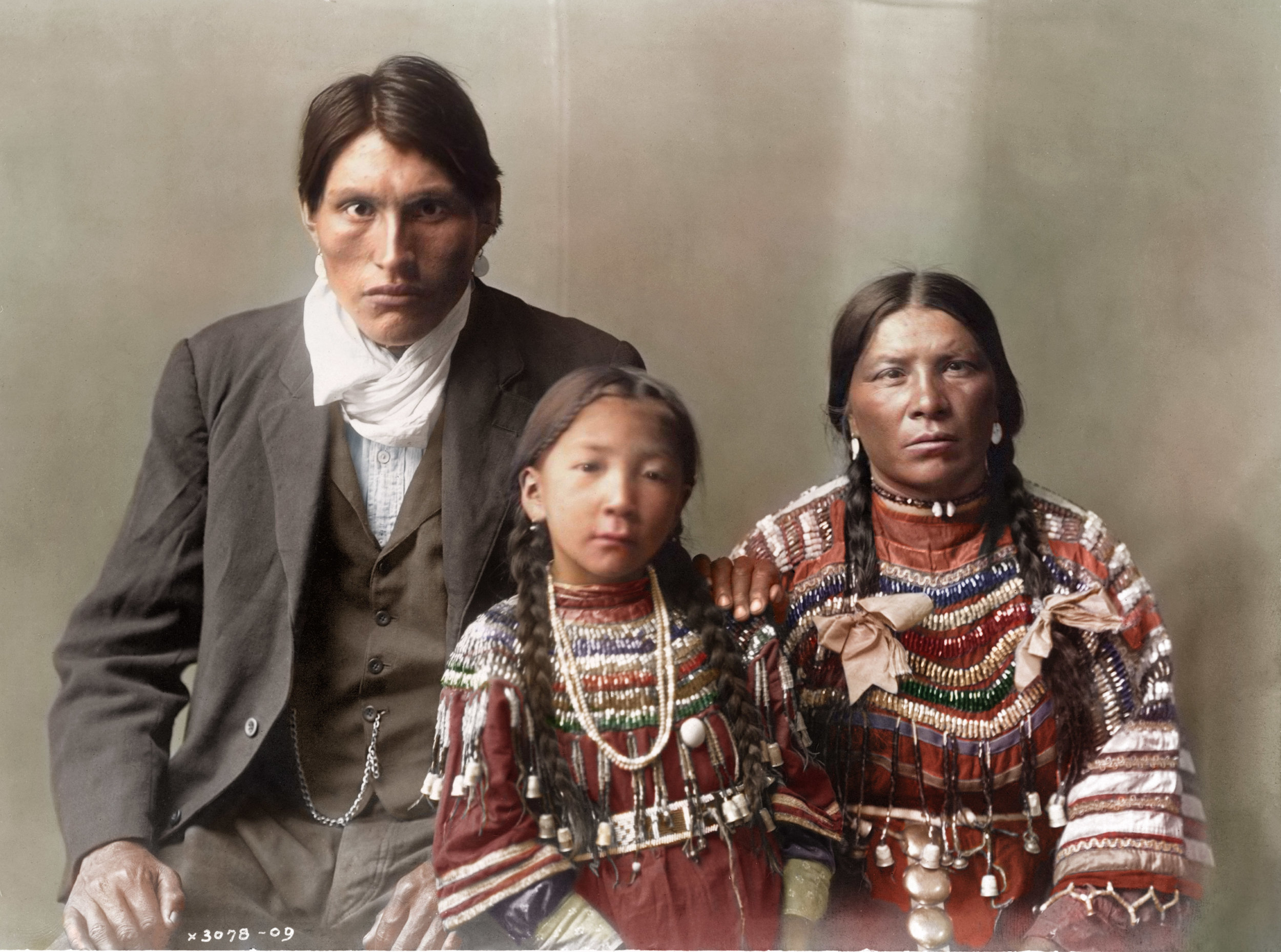 Colorized by Okkama Colorizations at The Psychogenealogist (2019). Original photo by Edward S. Curtis (1868-1952) in 1910.
