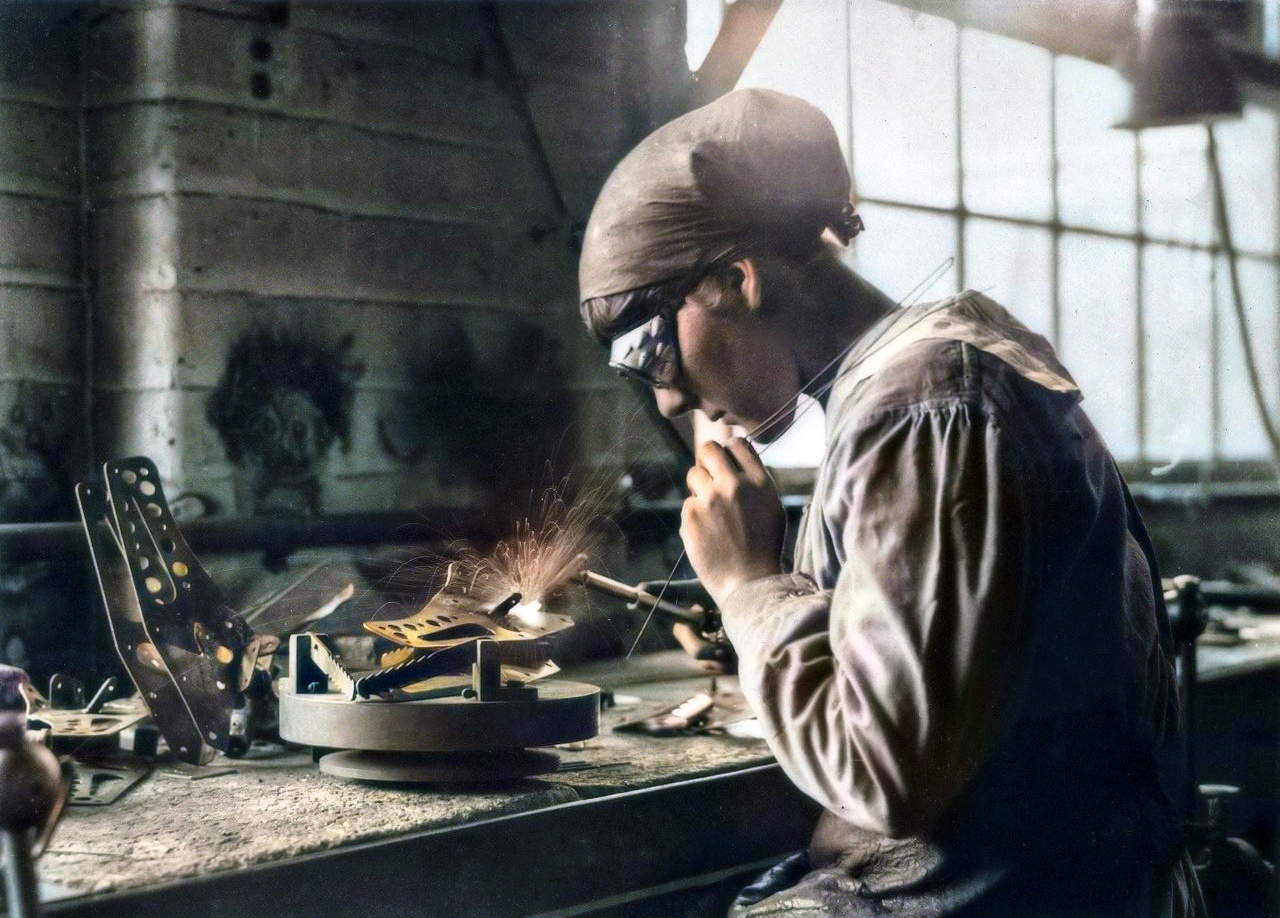 British Welding Woman Airplane Worker in Full Color (1914)
