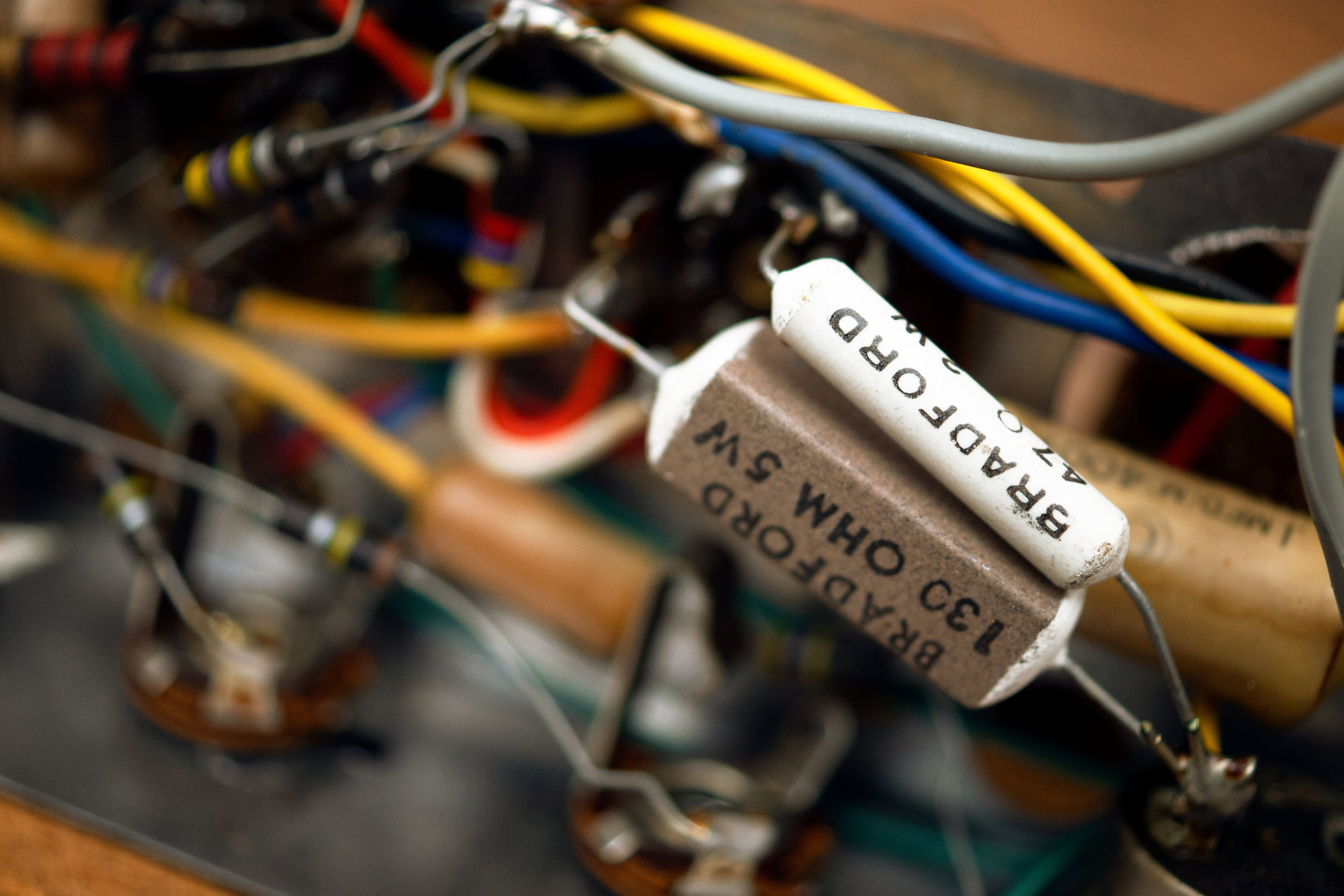 We were tempted to keep these resistors because we loved the vintage font. We didn't need that value in the circuit, though.