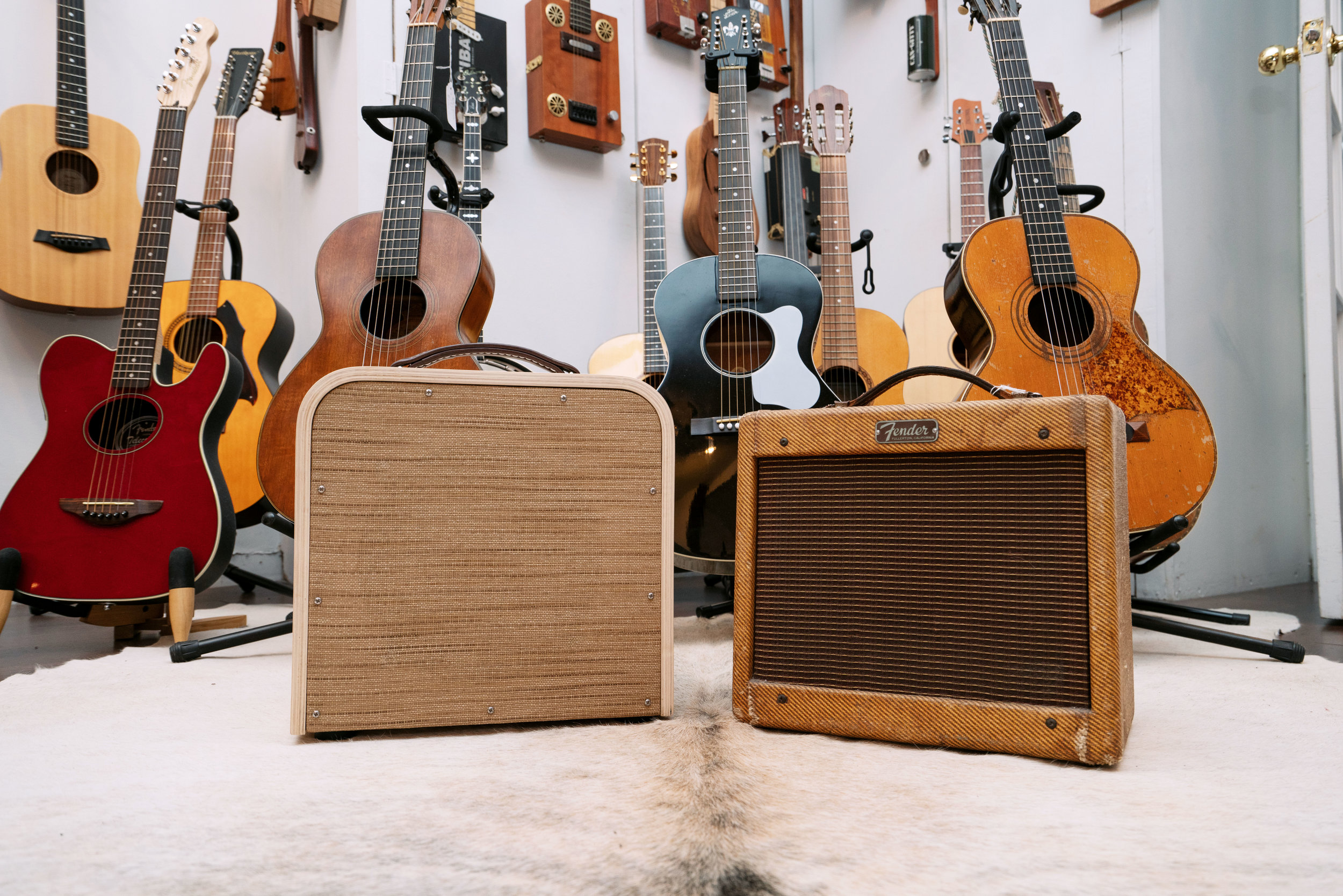 An original tweed Champ on the right. ( Vesper amp  on the left.)