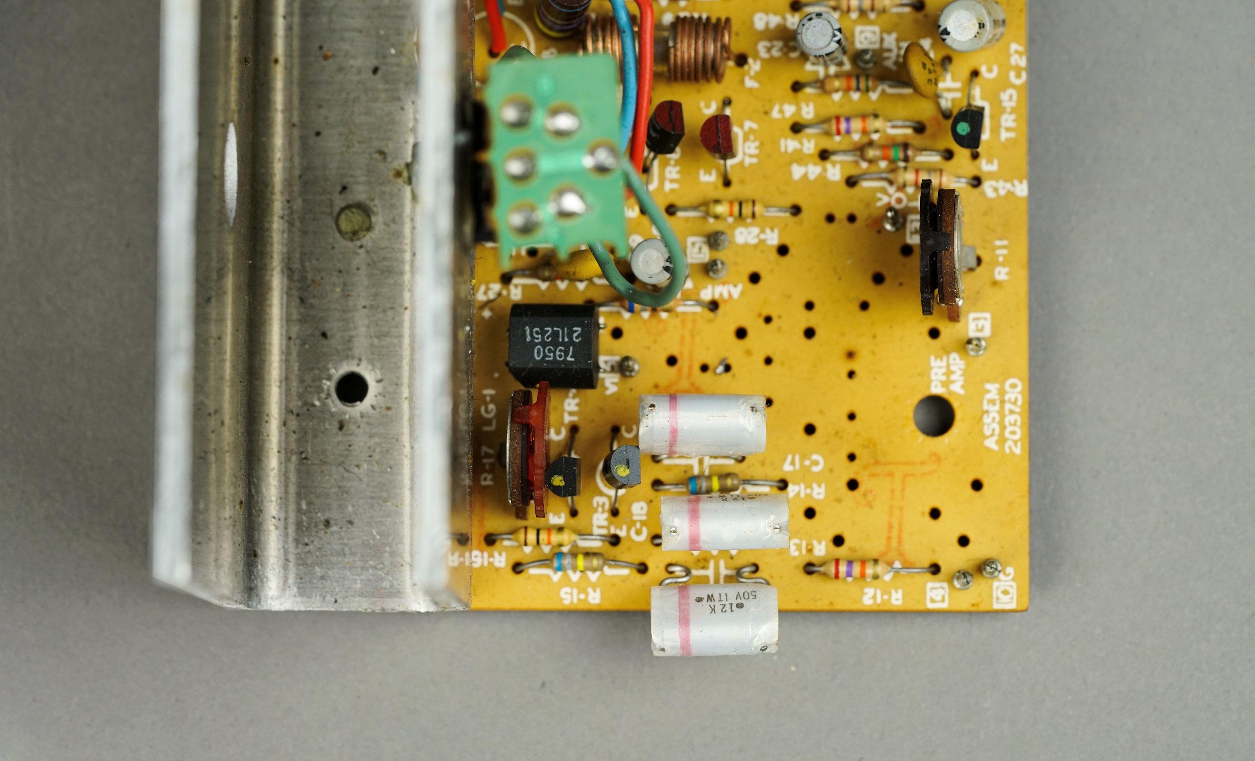 The main circuit board of a  Wurlitzer 200a  electronic piano.