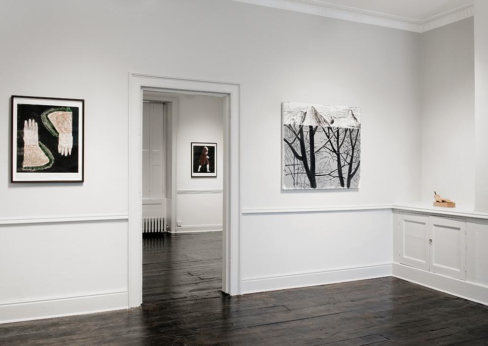 Installation view - Mamma Andersson, Mamma Andersson in far room, Dexter Dalwood, John Stezaker