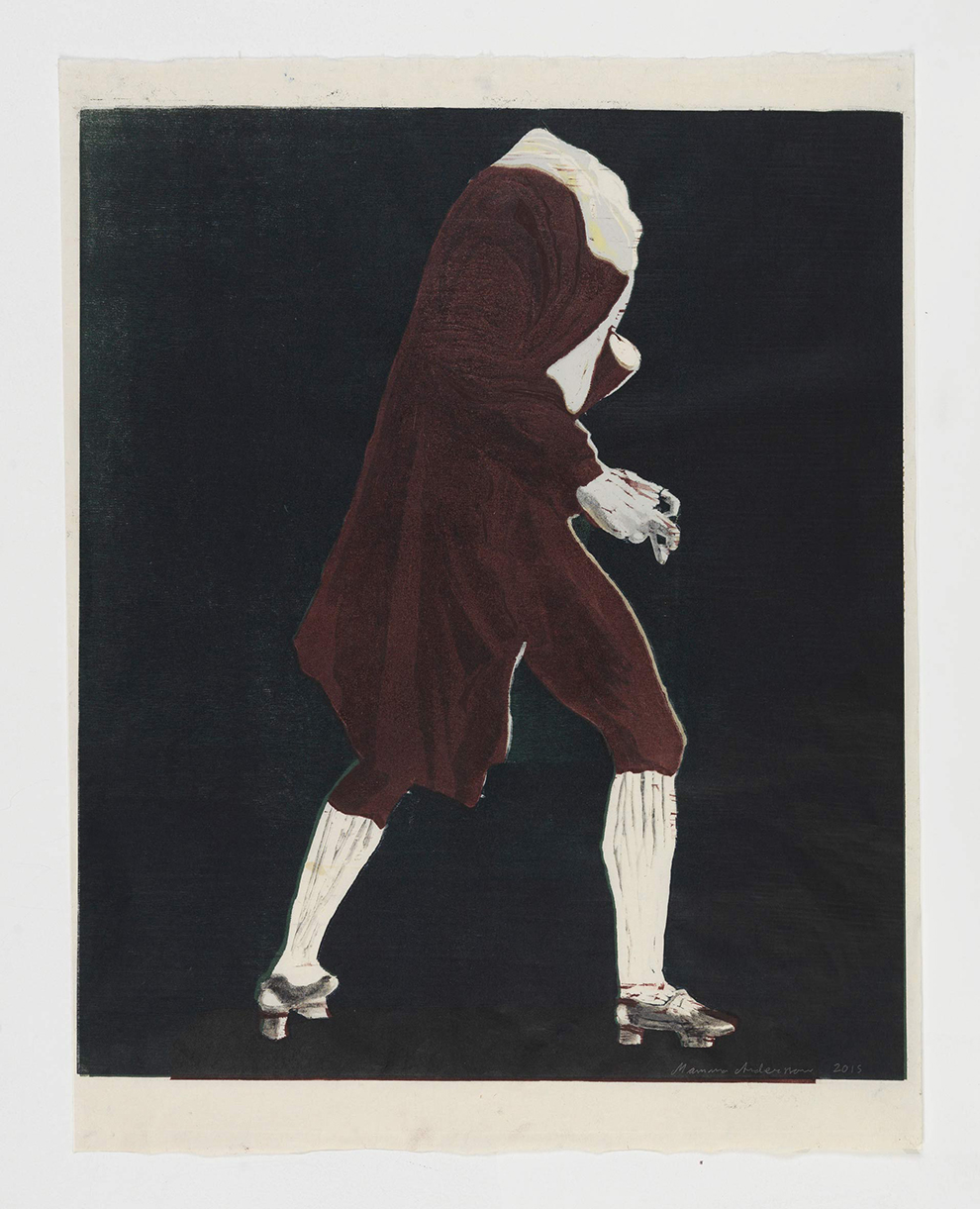Mamma Andersson,  Headless Man in Jacket , 2015, hand printed colour woodcut on rice paper, monotype,65 x 50cm