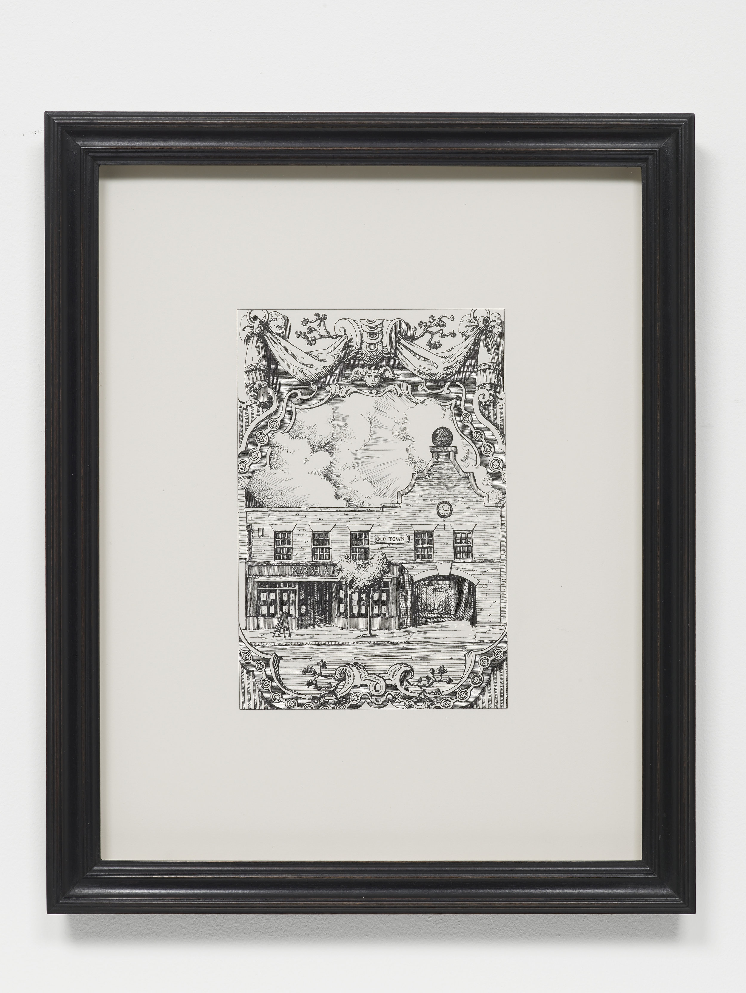 P­ablo Bronstein,   28 Old Town, SW4 , 2017, Ink on paper, artist's frame, 42.5 x 34 x 2.5 cm