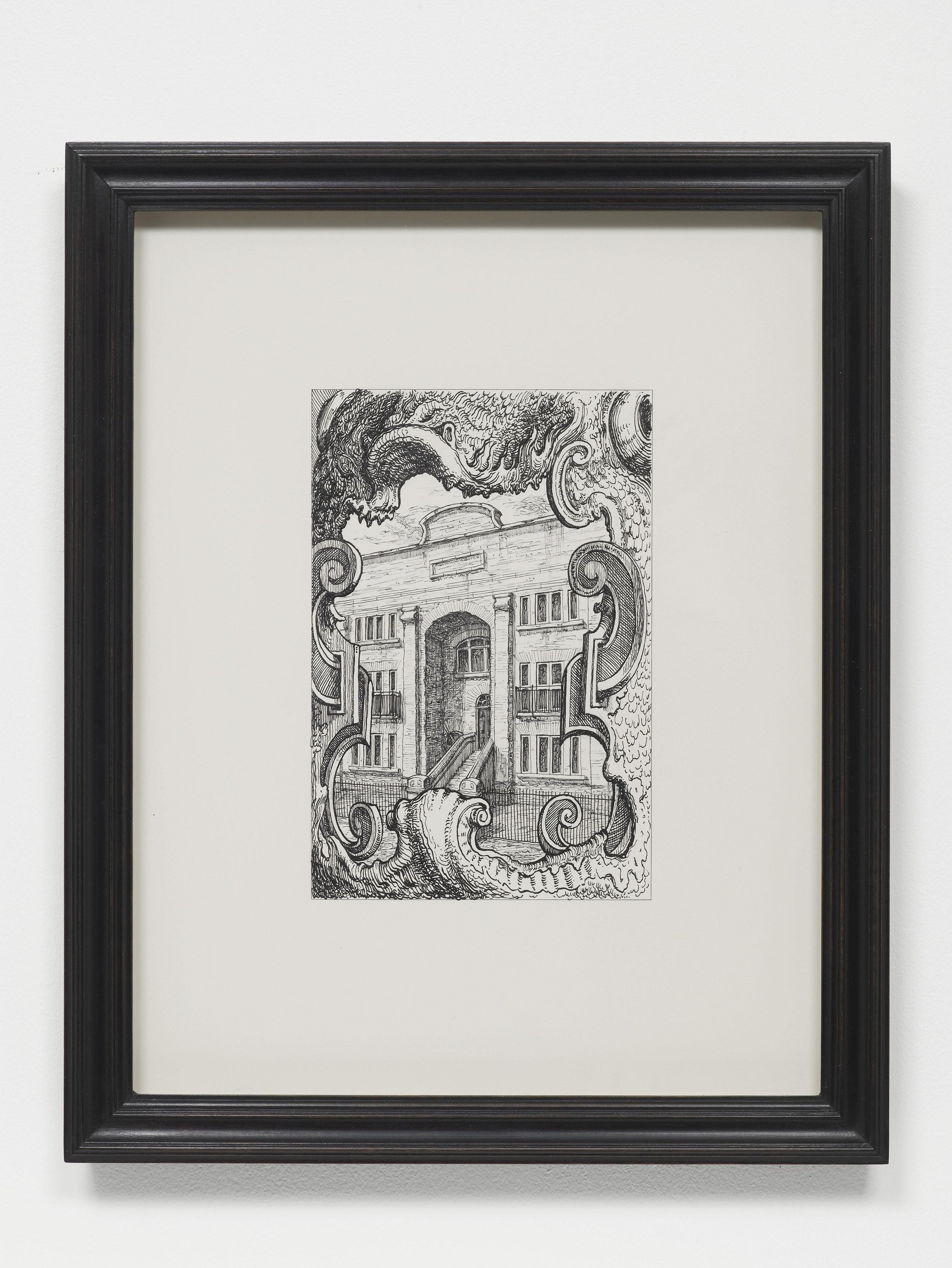 Pablo Bronstein,     118-124 Duckett Street, E1 , 2017, Ink on paper, artist's frame, 42.5 x 34 x 2.5 cm
