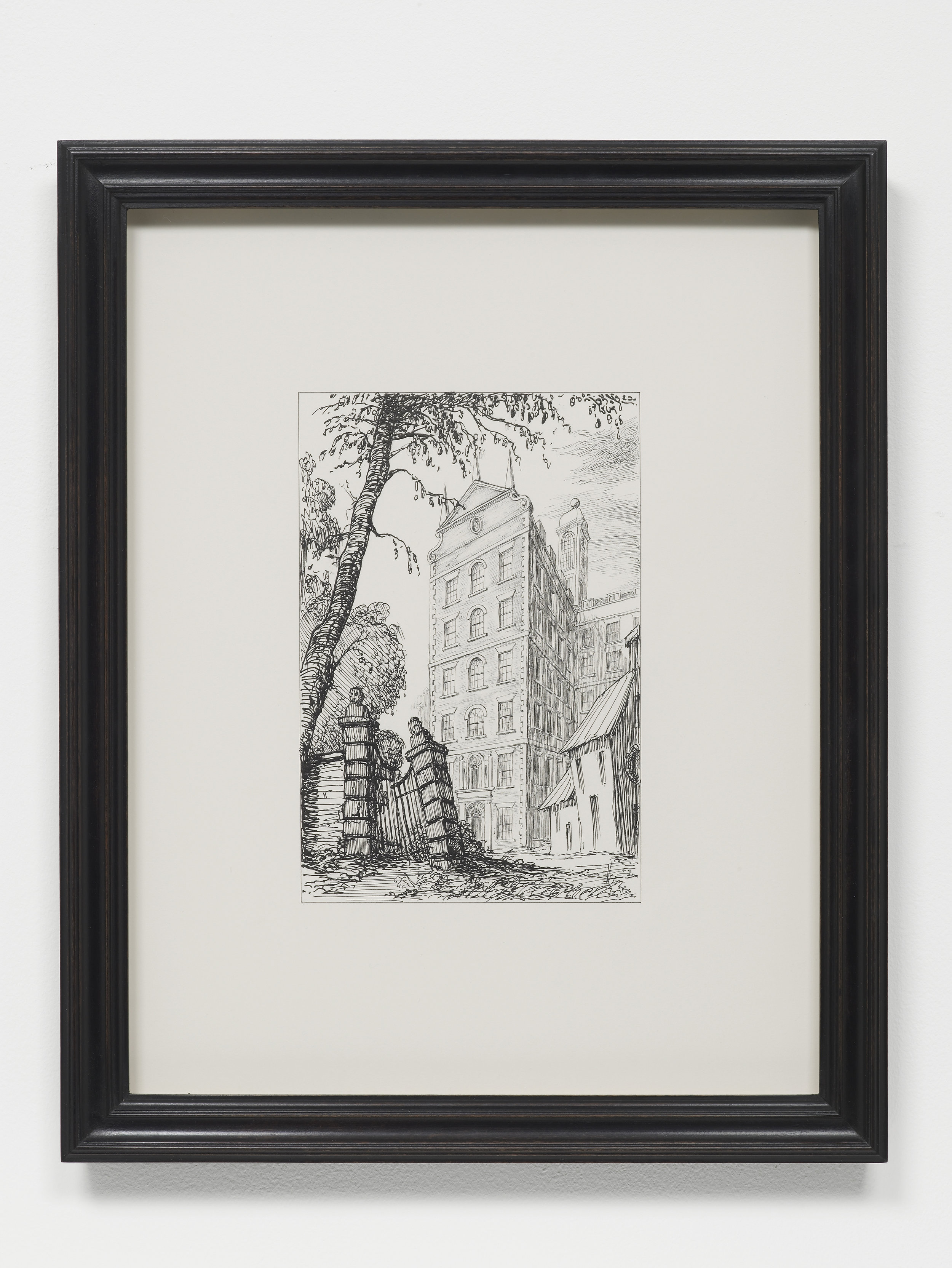 P­ablo Bronstein,     Dufours Place, W1 , Ink on paper, artist's frame, 2017, 42.5 x 34 x 2.5 cm,