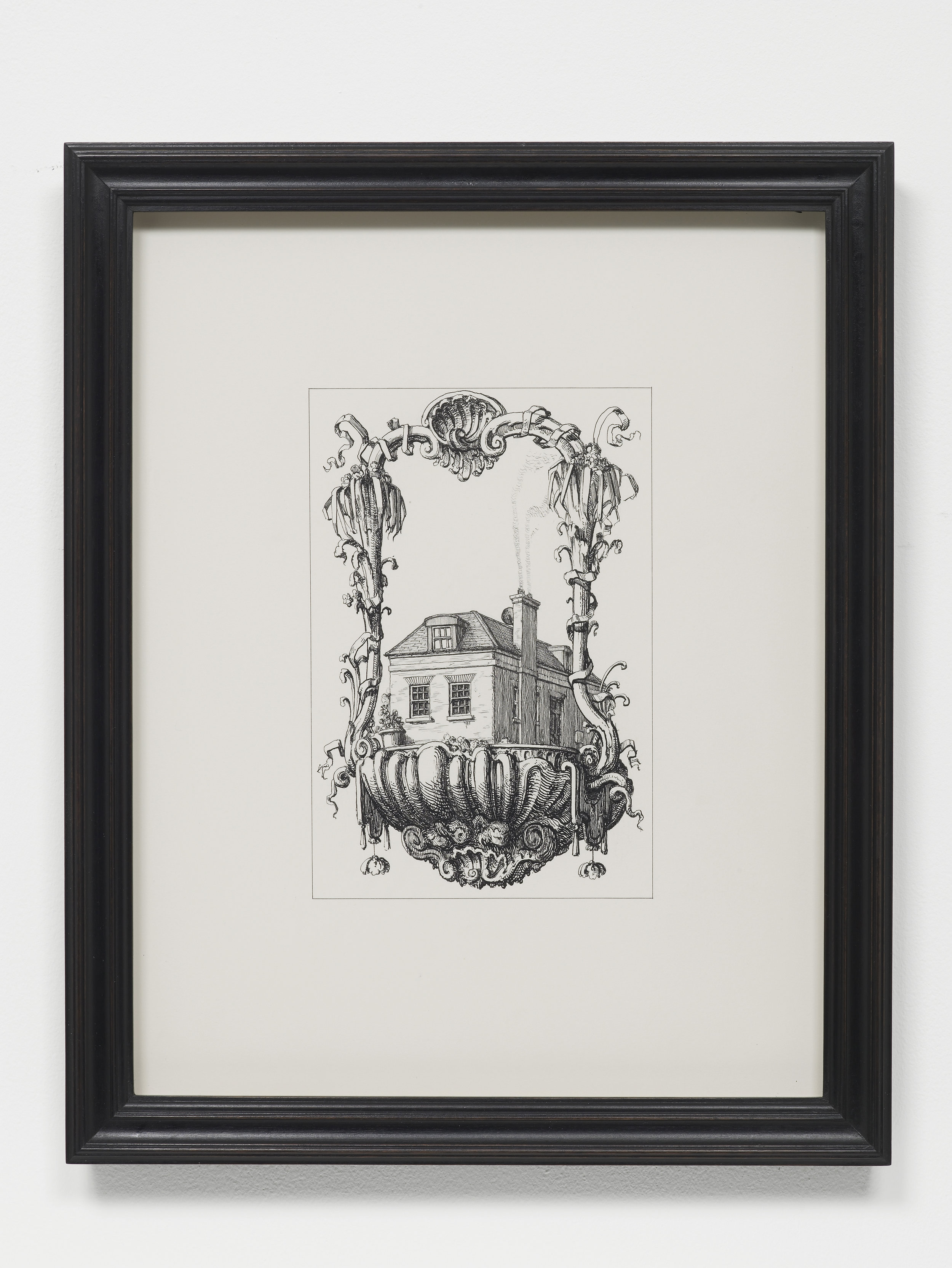 P­ablo Bronstein,   Old Farm Road, Hampton, TW12 , 2017, Ink on paper, artist's frame, 42.5 x 34 x 2.5 cm