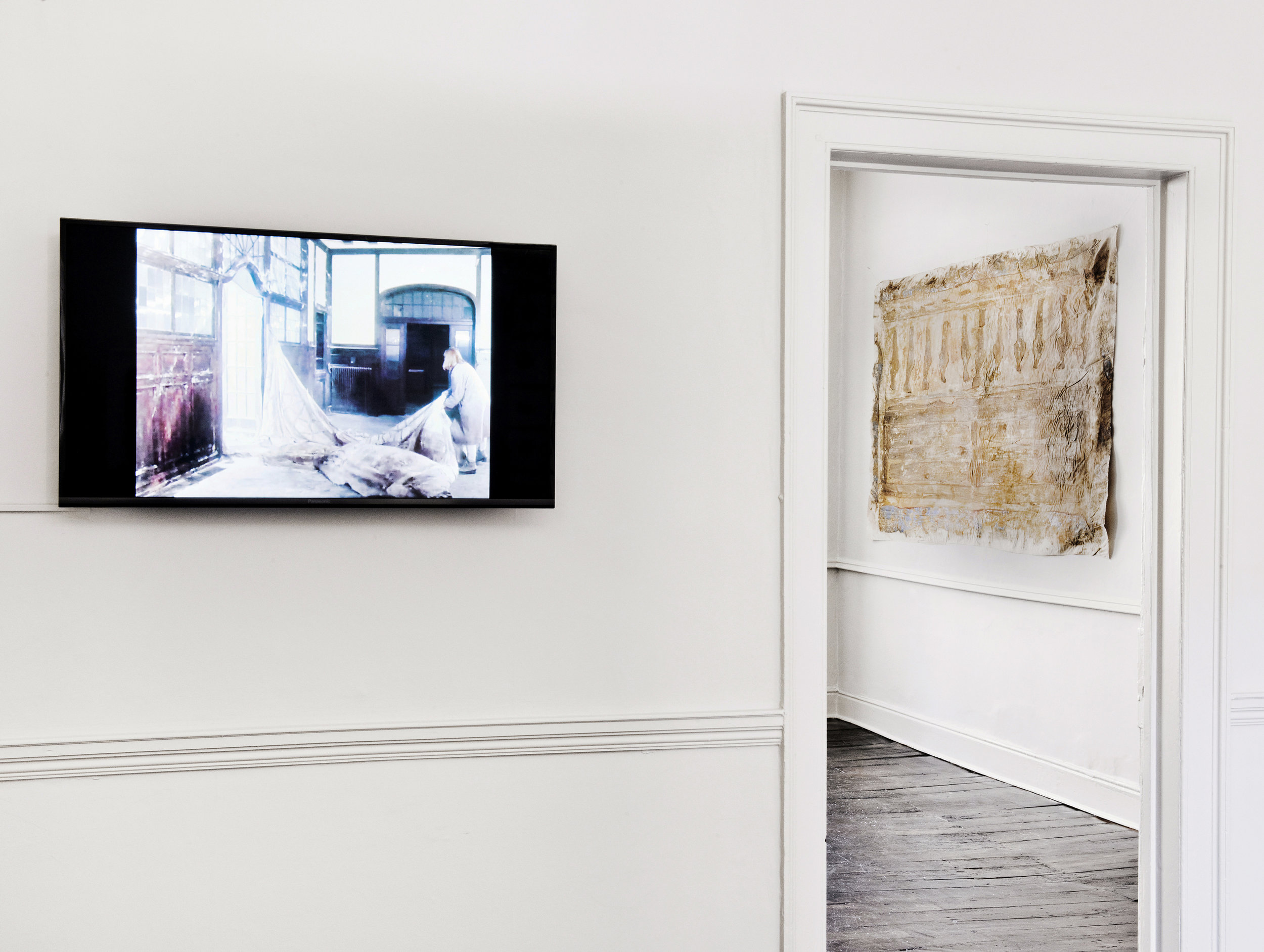Installation view - Heidi Bucher, still from  Bellevue , 1990, Kreuzlingen