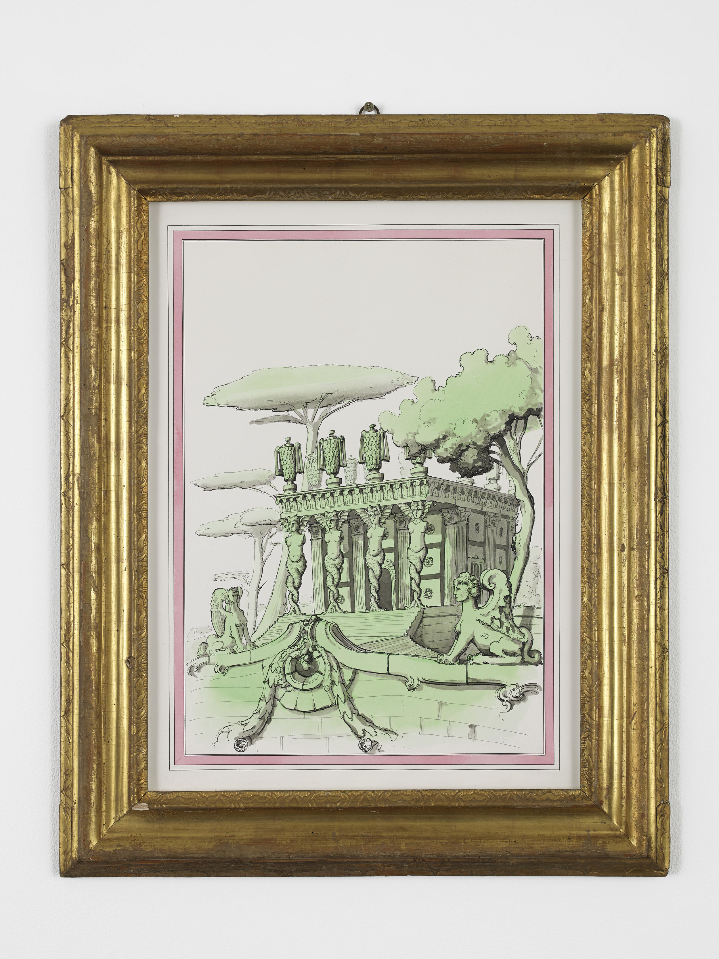 P­ablo Bronstein,   Mannerist Assemblage with fragments from an Alberti structure - Temple of Furies , 2015, Ink and watercolour on paper, artist's frame, 74.5 x 59.8 cm