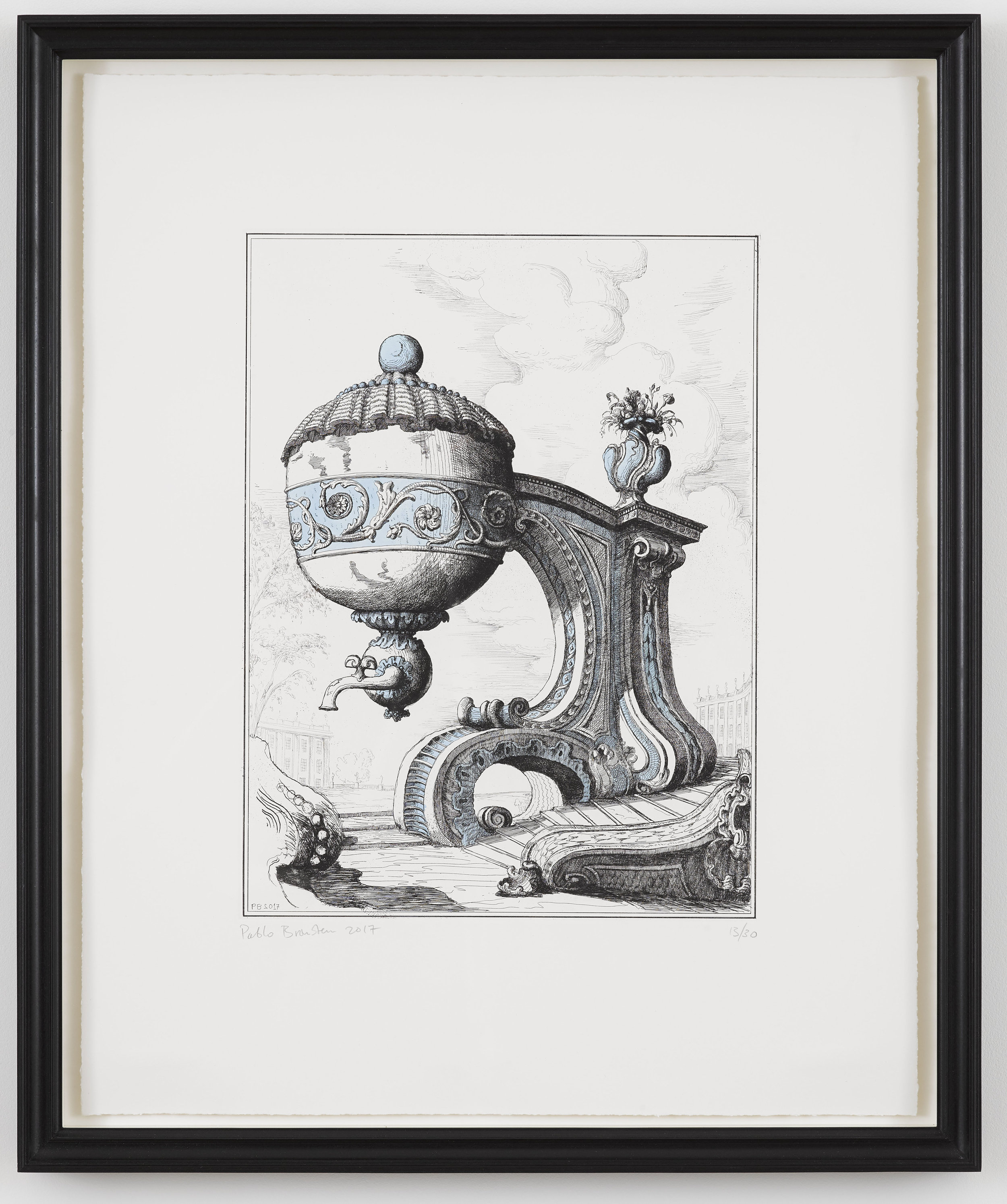 P­ablo Bronstein,  T ea Urn on Architectural Support II , 2017, Frame size: 66 x 55 cm,  Hand ground etching, hand-coloured with ultra blue and violet ink on Fabriano Tiepolo 280 gsm paper
