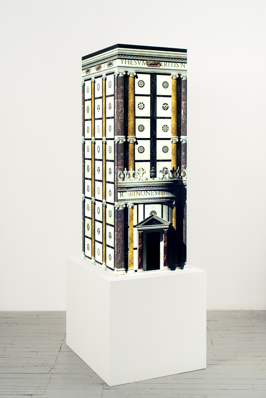 P­ablo Bronstein,     Hollow Renaissance Edifice , 2016, 159 x 70 x 54 cm, Plinth 60 x 90 x 74 cm,  Computer generated print on acid free cotton paper, MDF, plywood