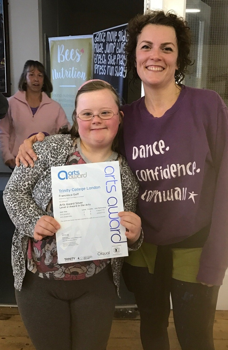 Francesca receiving her award with by Becci Gowers from Dance confidence Cornwall
