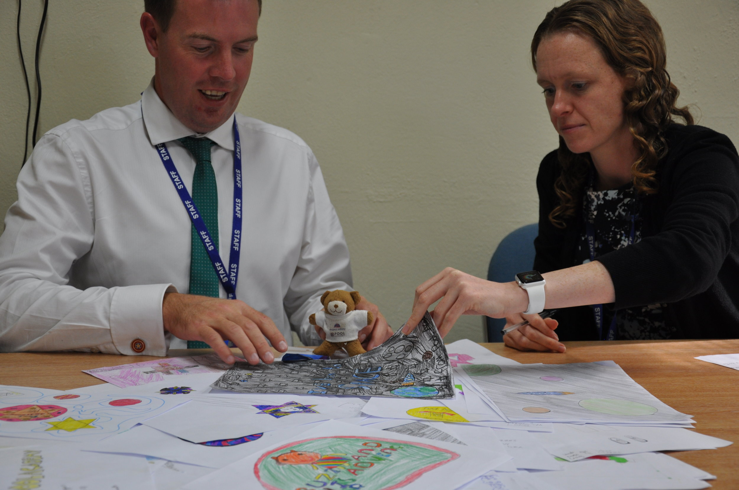 Principal Miss Meakin and Head Geek Phil helping me look through all the competition entries.