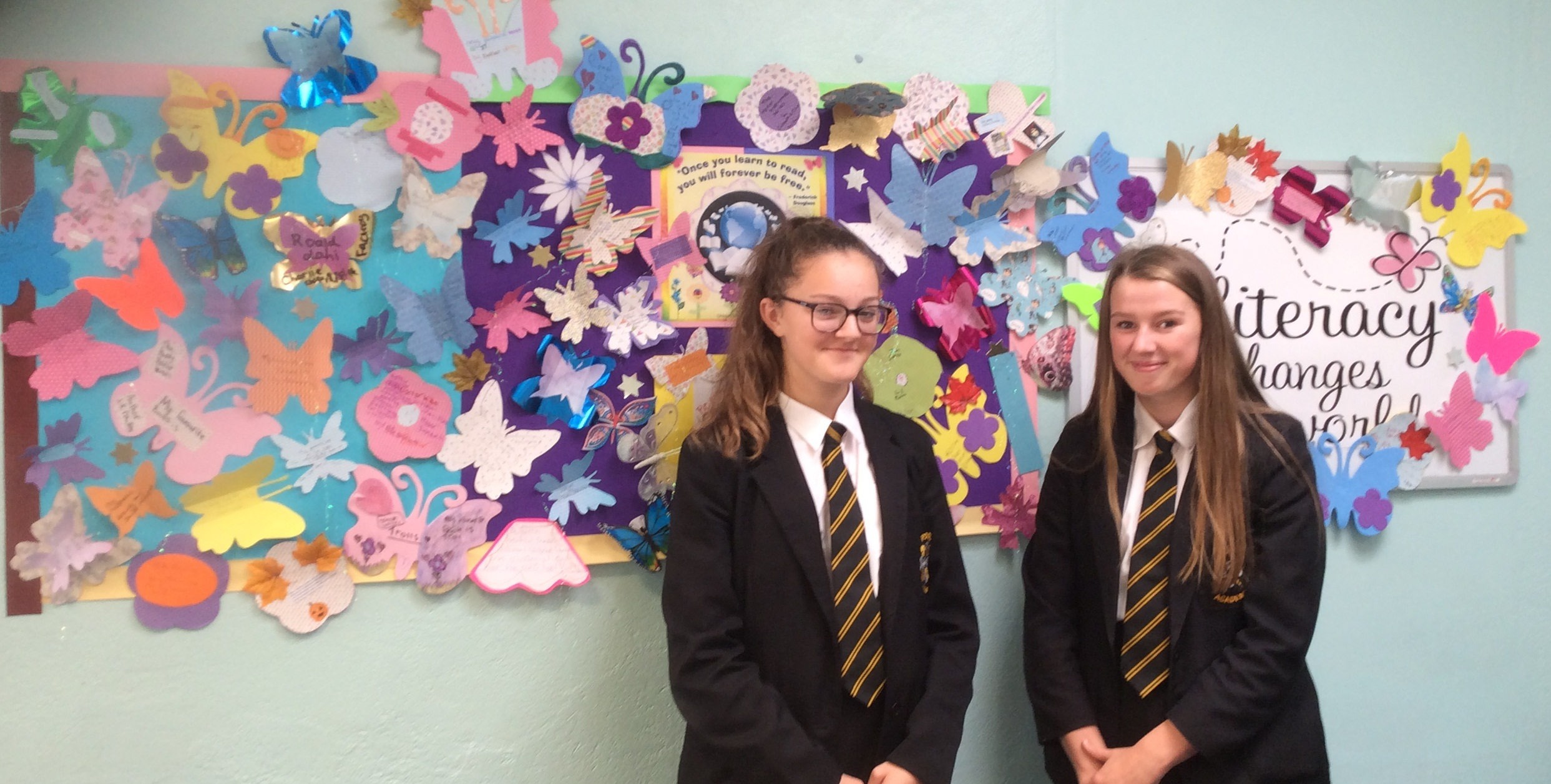 Lily and Kerry with the new display board