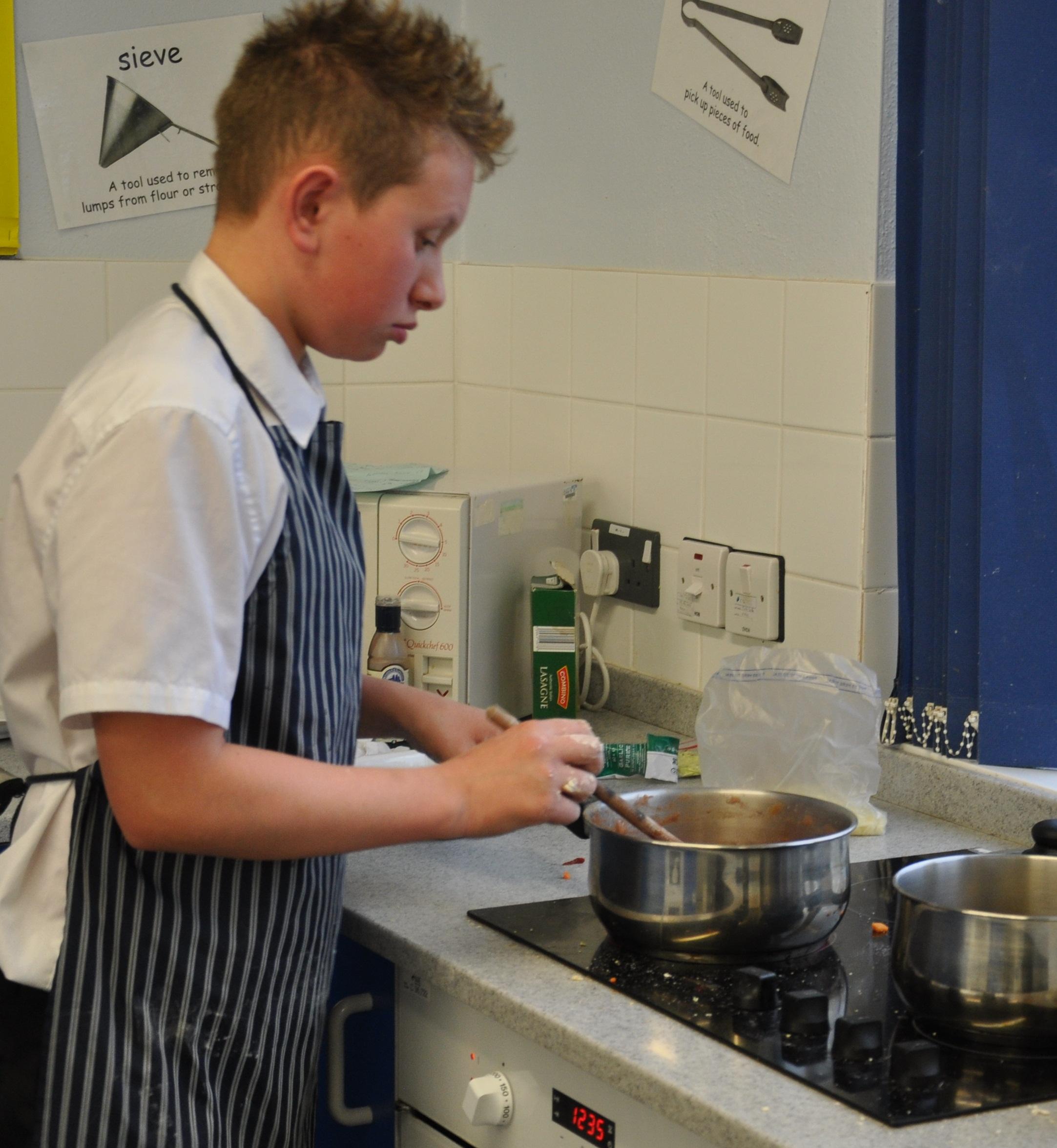 Max preparing his dish