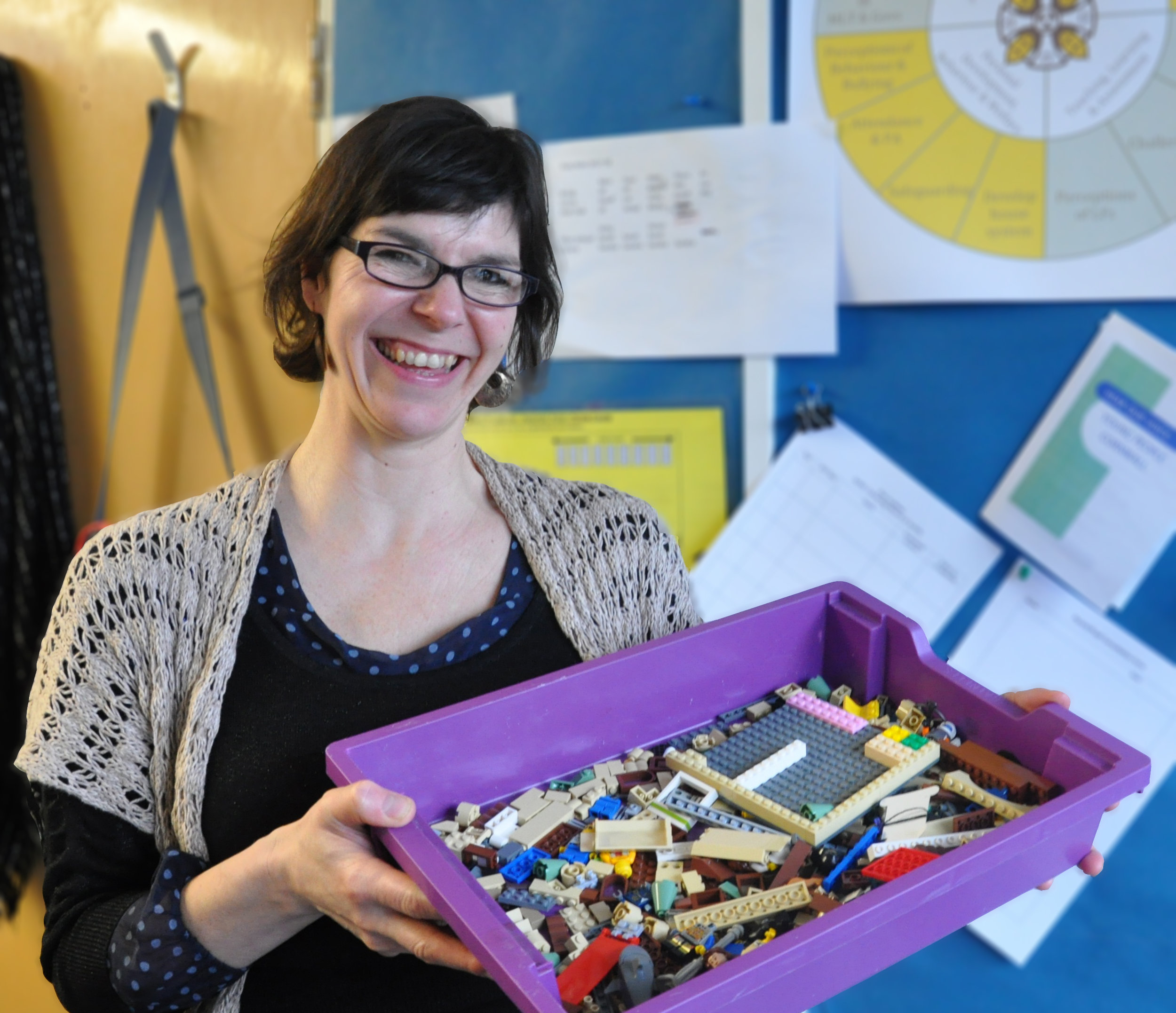 Rachael Facey, school's SENDCo, calling for Lego donations.