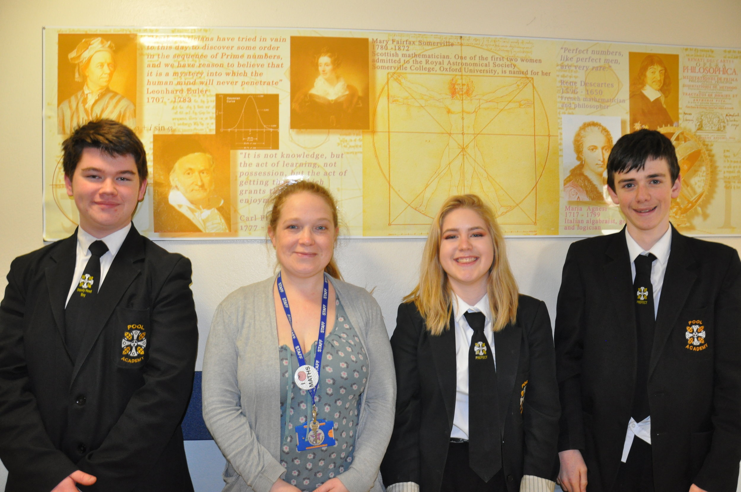 Alfie Baker, Maths teacher Mara Weir, Paige Denning and Matt. All excited about being accepted into Exeter Maths School.