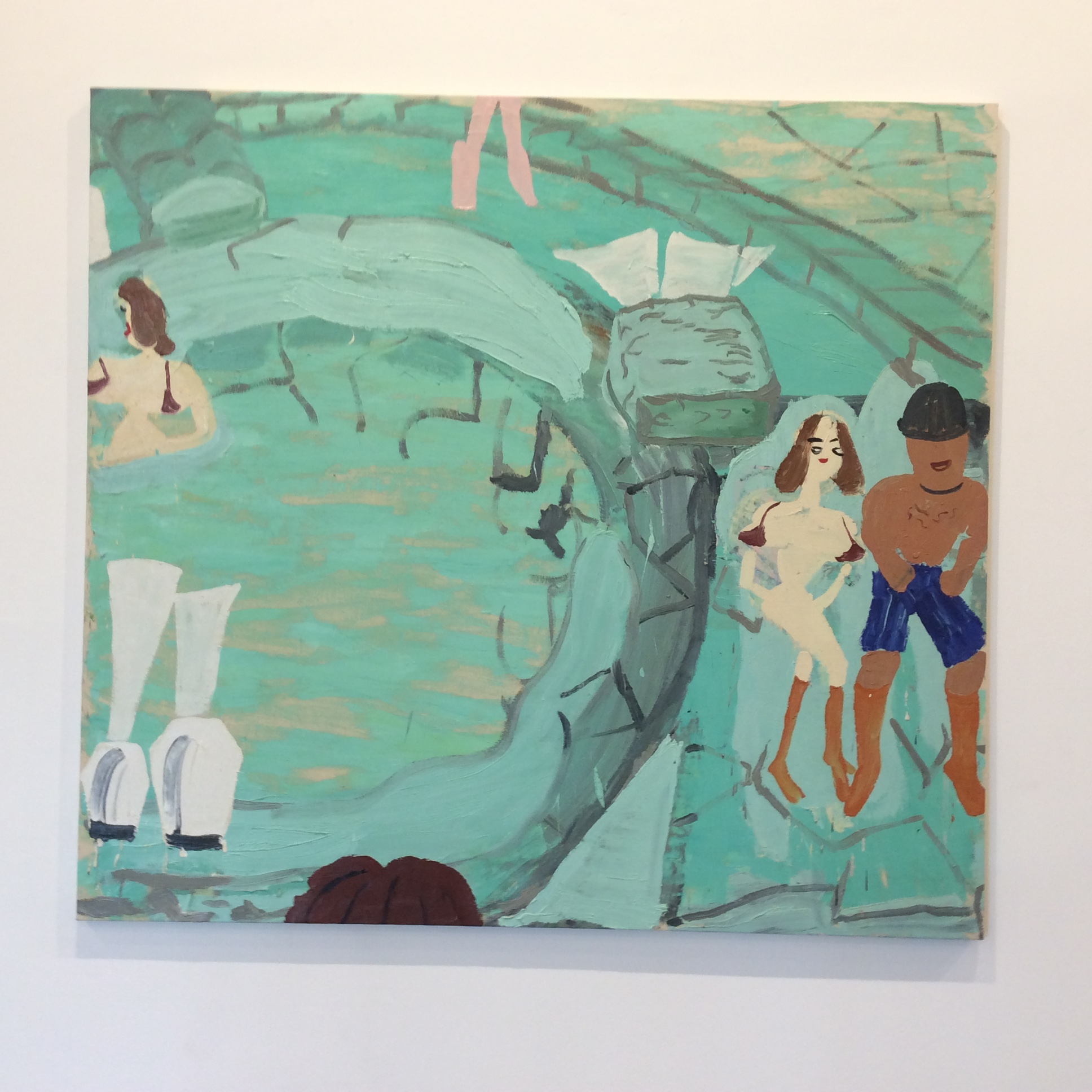 A photograph taken on the art trip of one of Rose Wylie's paintings.