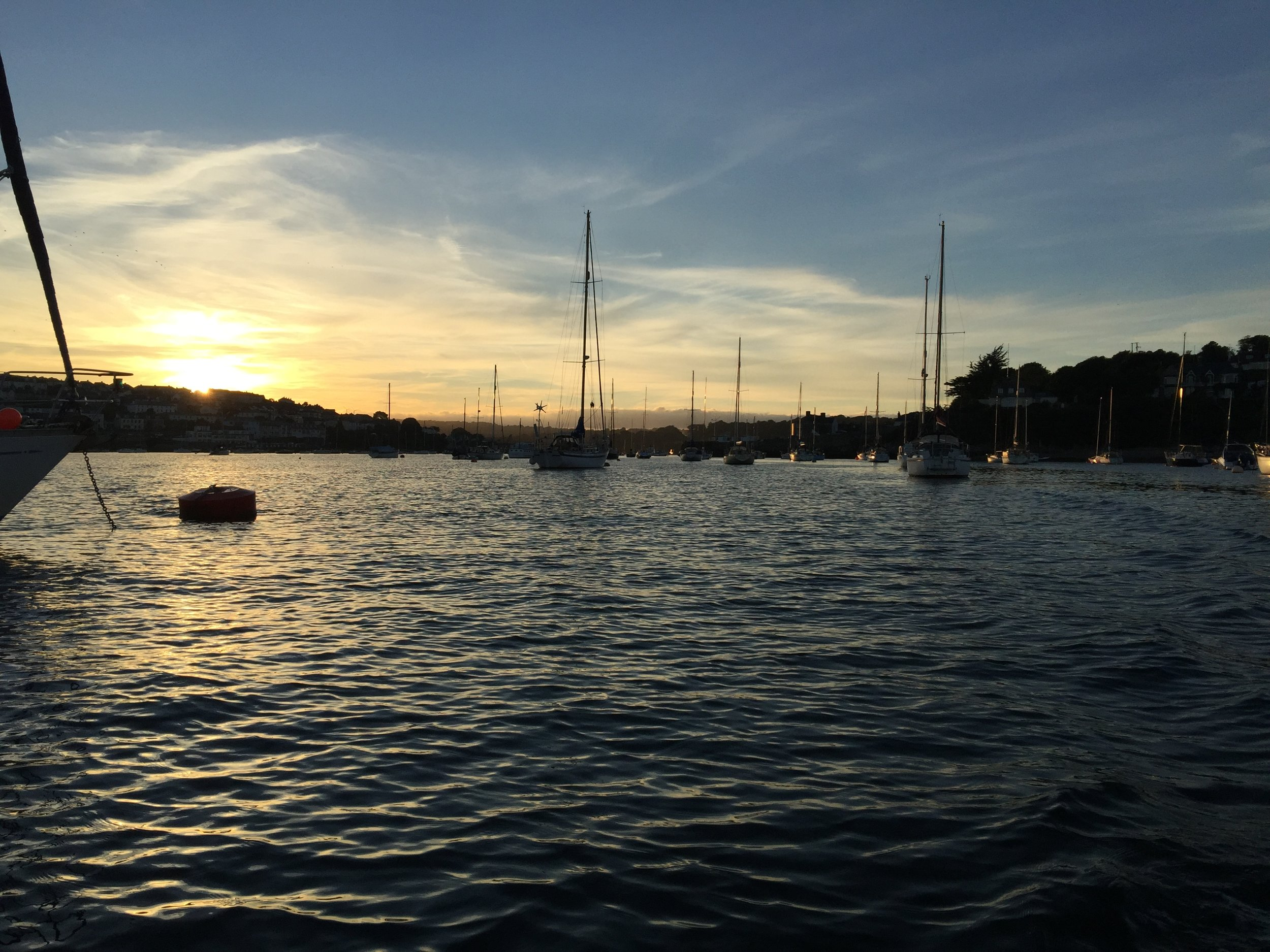 Sun setting in Falmouth as Miss Meakin heads toward Flushing.