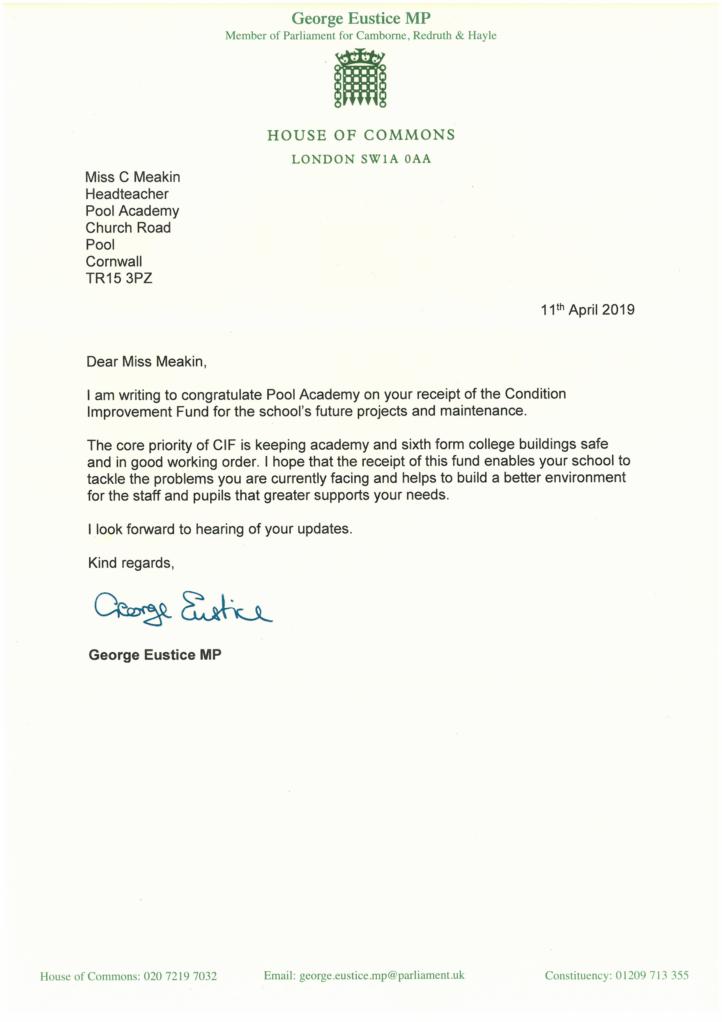The MP's letter