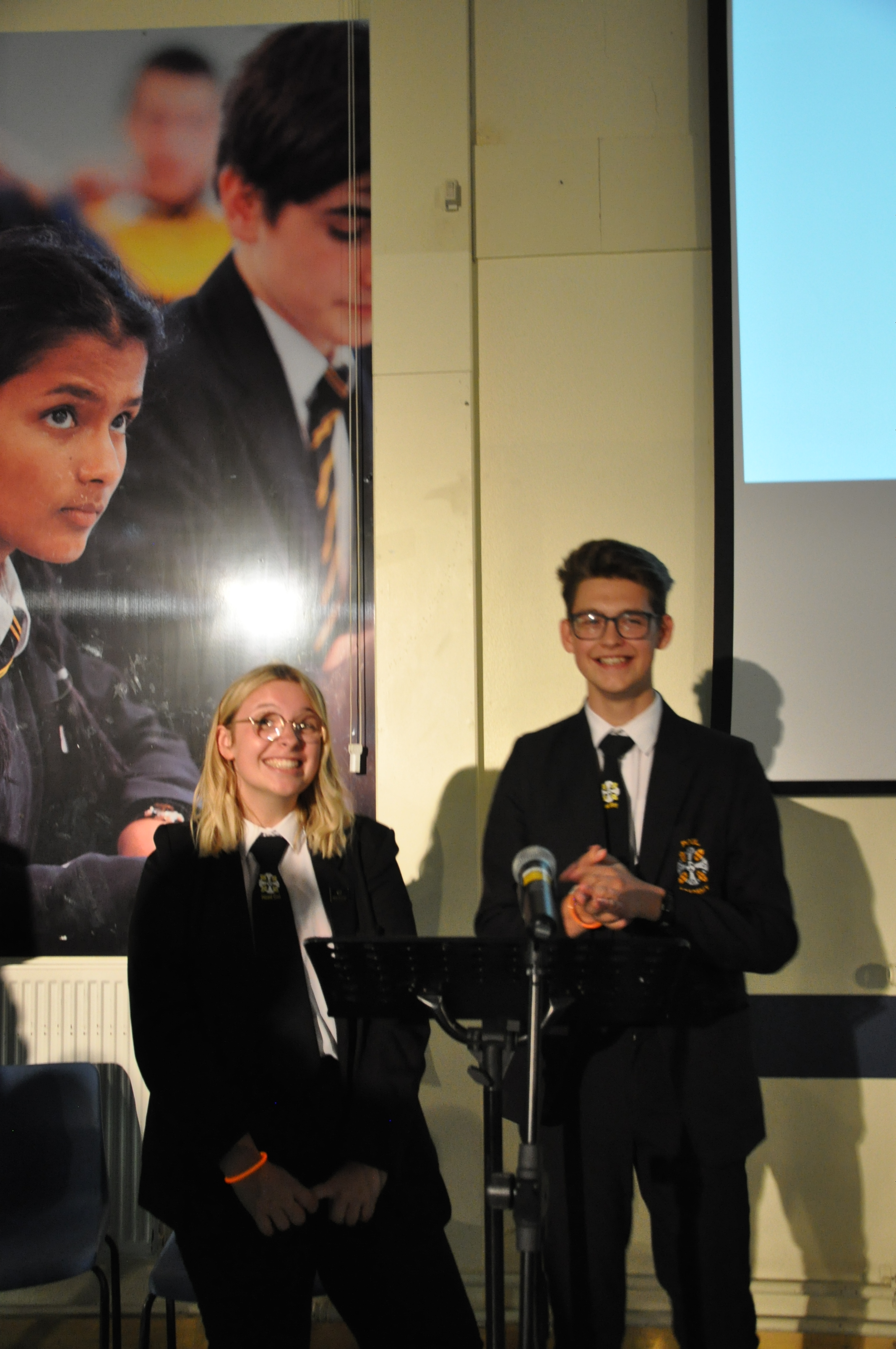 Our Head Girl and Head Boy giving their speech during open evening.