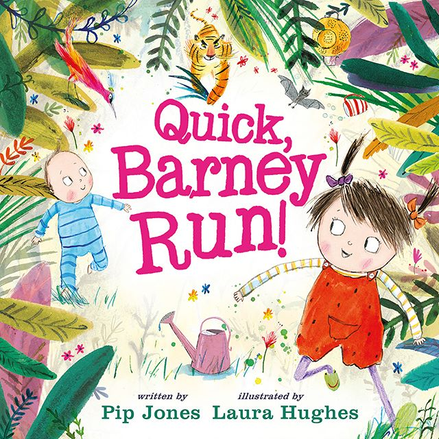 Quick, Barney, Run! Is out TODAY! Written by @pip.jones.author, illustrated by me, and published by @faberchildrens. . I'm really pleased with this cover, especially the colours! However this was a difficult one to get right. Sometimes covers are easy (There's a Pig Up My Nose) but often it can be tricky. You have to consider designers, editors, the sales team and book sellers while creating something you're happy with too. I did some initial designs with a green background (swipe for my very very rough tiny sketches), but in the end this approach didn't look right. With designers @nesswood_design and @emmaeldridge321  we arrived at this design: hope you like it!