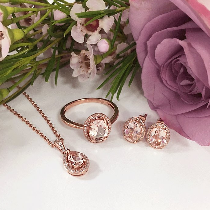 Some of our  9ct Rose Gold Morganite and Diamond pieces  looking pretty in pink.
