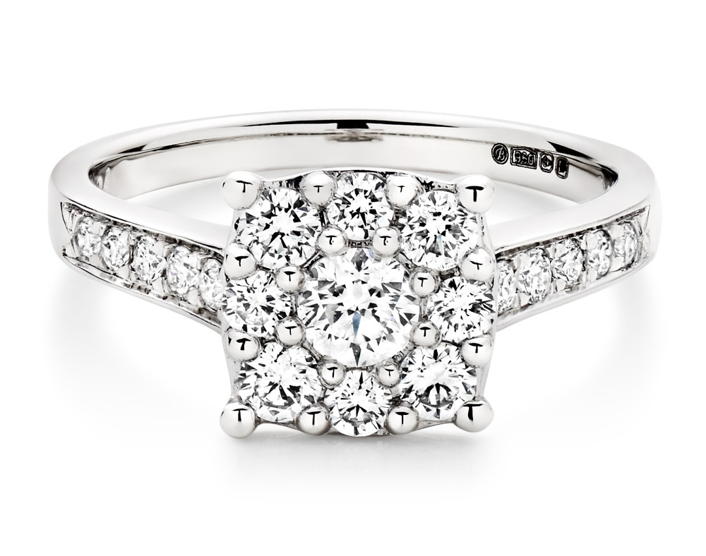 Our  Platinum Diamond Cluster Ring  is filled with dazzling diamonds so you can sparkle forever.