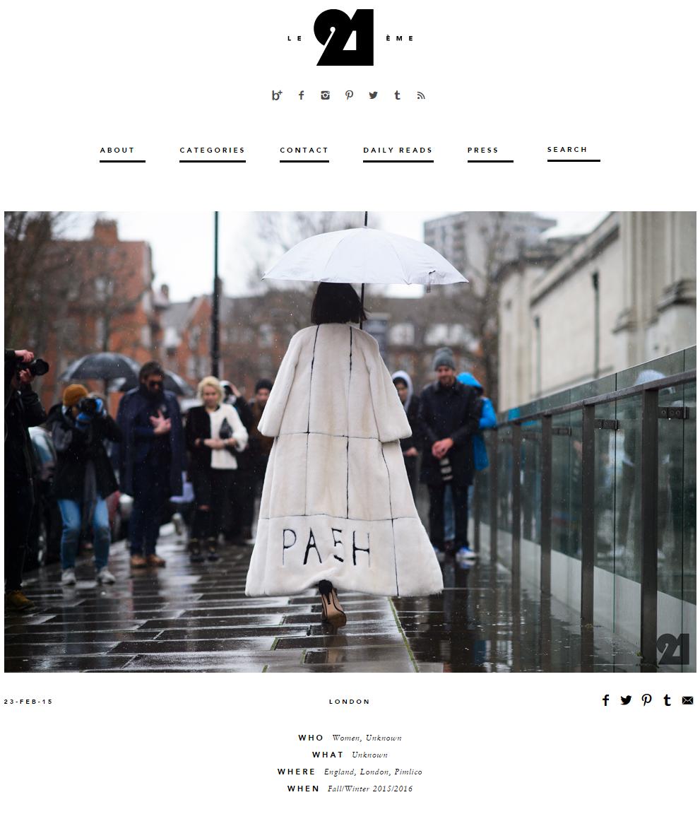 LE21EME.COM    Tarcha Ann In PA5H Outside The Topshop Show Space, London Fashion Week, February 2015