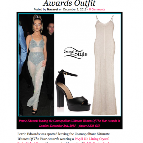 STEALHERSTYLE.NET    Perrie Edwards' Style Has Been Featured On Stealherstyle.Net Wearing PA5H White Crystal Embellished Gown With No Lining At The Cosmopolitan Ultimate Women Of The Year Awards 2015 In London, December 2nd.