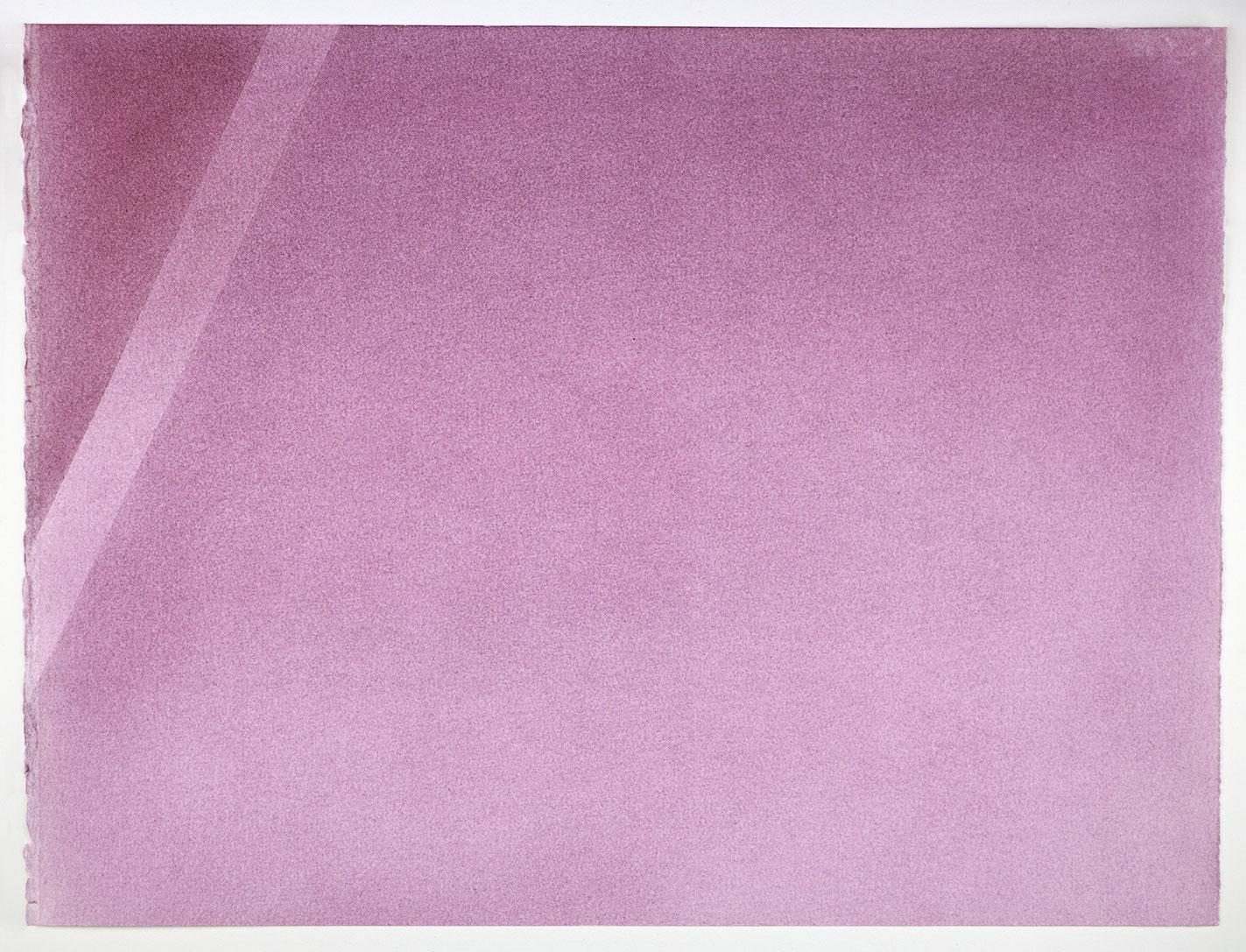 """Andréanne Godin,  Une nuance de violet  (de la série  Une promenade avec Pierre ), 2016, pigments secs (violet quinachridone) sur papier Arches, 35 x 46 cm (13.5"""" x 18"""")"""