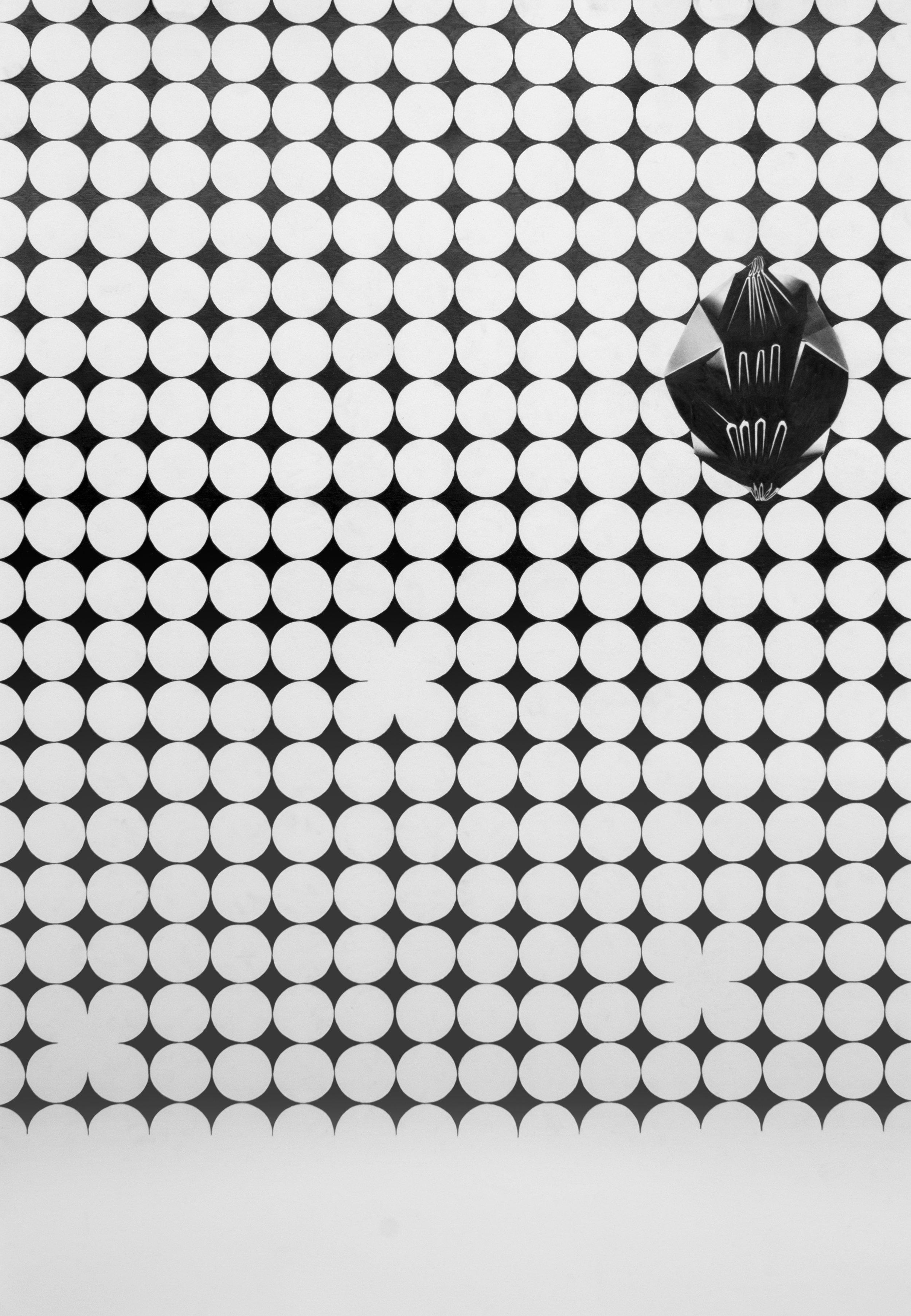 """Philippe Caron-Lefebvre,  Replis sur losange noir , 2016, graphite sur papier, 112 x 76 cm (44"""" x 30"""")"""