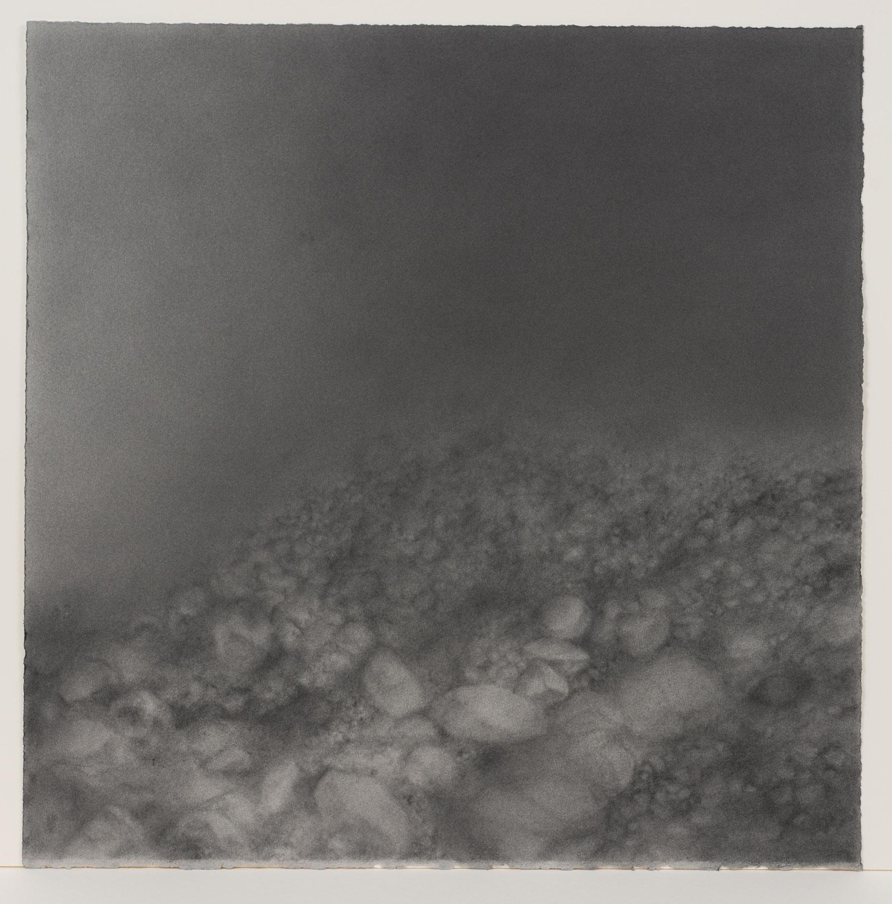 """Andréanne Godin,  #04 : History of a Landscape (Variation IV),  de la série  Descriptions de paysages , 2015, poudre de graphite sur papier Arches, 61 x 61 cm (24"""" x 24"""")"""