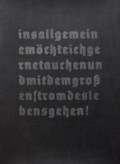 """Carl Trahan,  Extraits de LTI, français-allemand #2,  2011-2012, graphite sur papier, 76,5 x 56 cm (30"""" x 22"""")"""