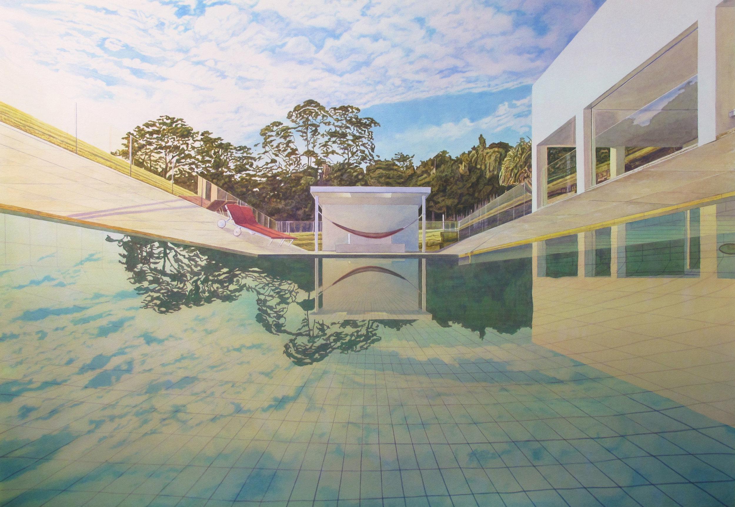 Deep End  2017  Aquarelle sur papier  82 X 120 cm