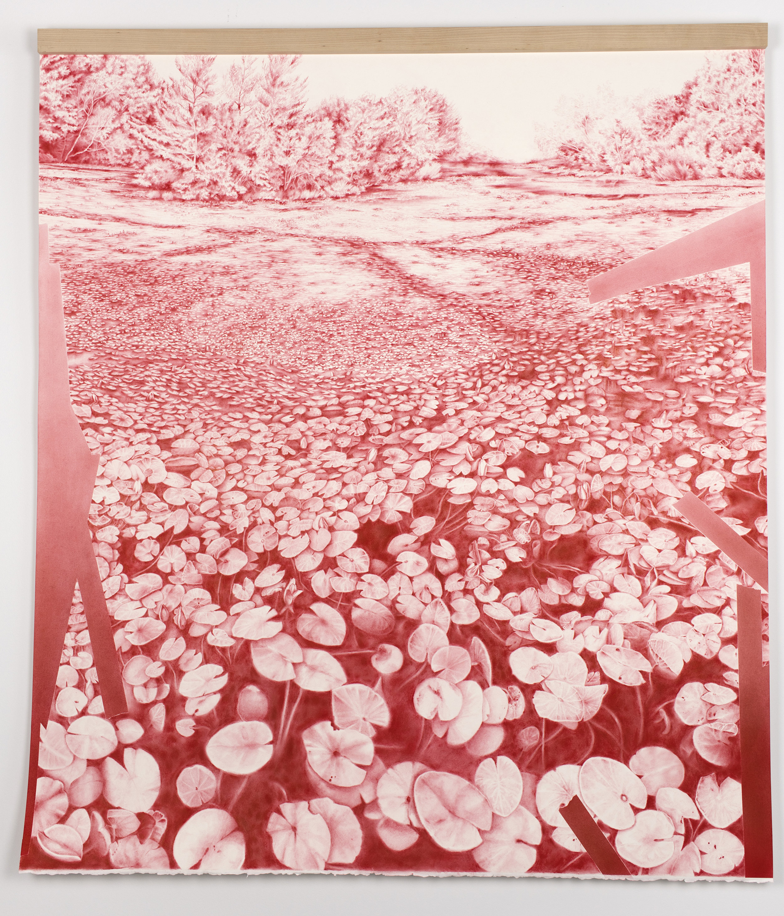 """Andréanne Godin,  Sans titre  (de la série  Les chemins de résistance ), 2017, pigments secs (rouge pyrrole) sur papier Arches, 129 x 114 cm (51"""" x 45"""")"""