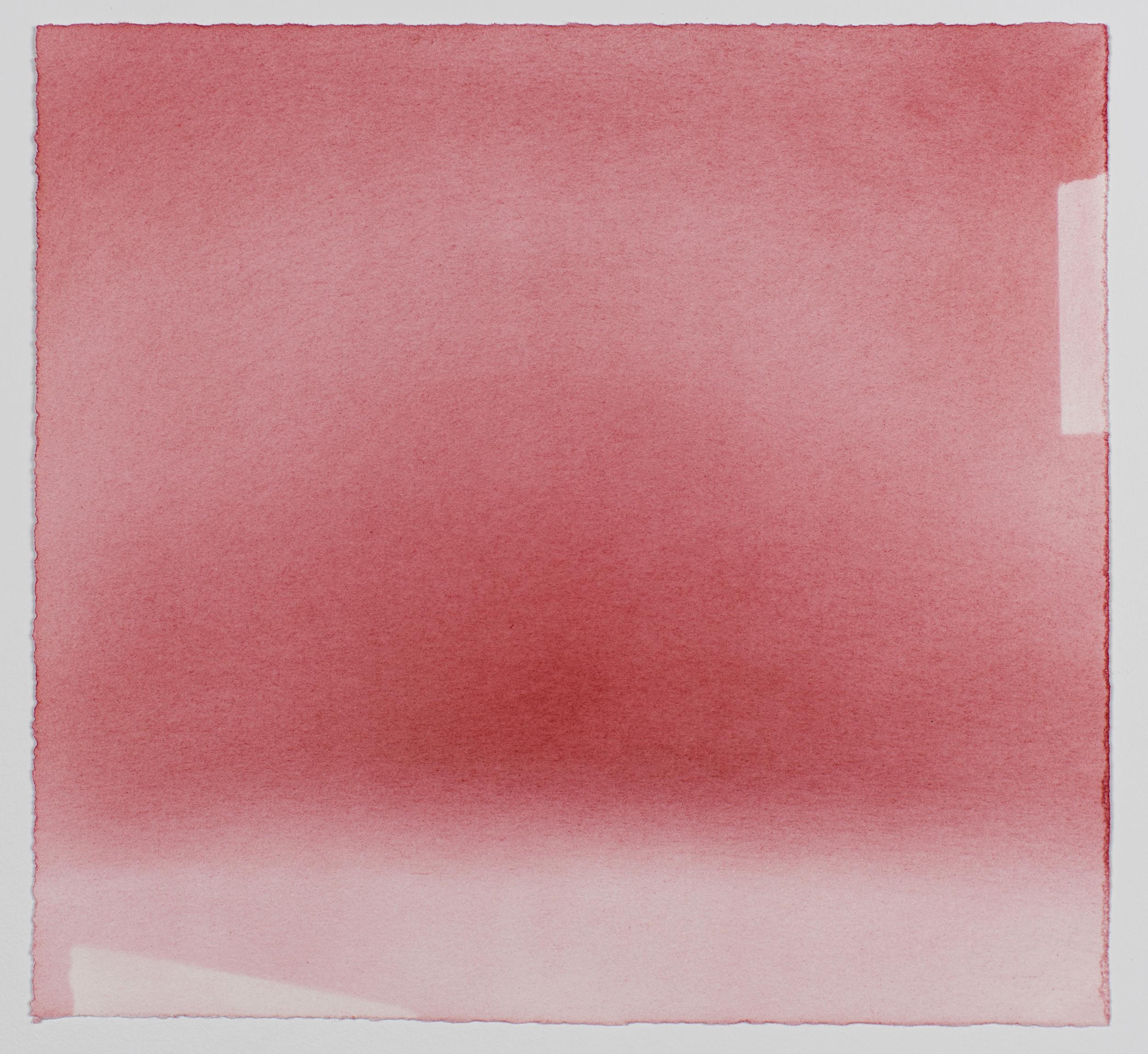 """Andréanne Godin,  Sans titre IX  (de la série  Les chemins de résistance ), 2017, pigments secs (rouge pyrrole) sur papier Arches, 20 x 21.5 cm (8"""" x 8.5"""")"""