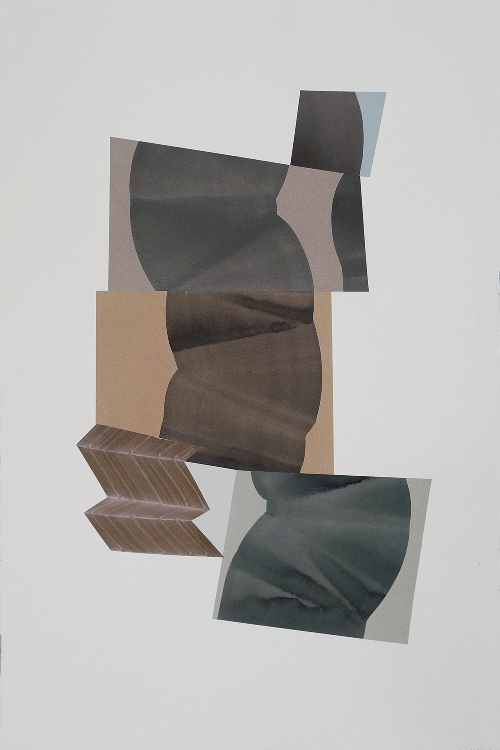 "Simone Rochon,  Ombres souples no. 3 , 2017, collage, encre acrylique sur papier Waterford, 40"" x 26"" (102 x 66 cm)."